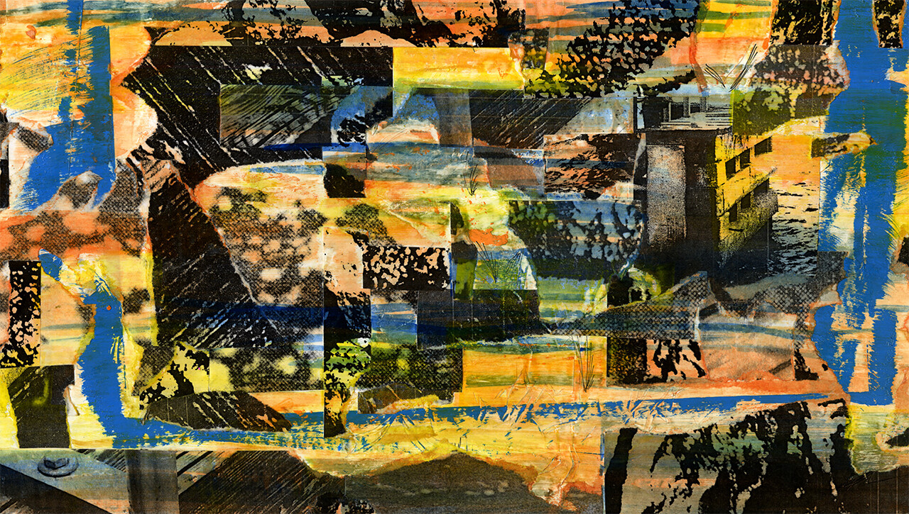 Still Life of Downtown Miami #5 Photocollage, Glue, Printer Ink, Various Acids on 2x4 Piece of Wood. 10 x 6 in (25 x 15 cm)