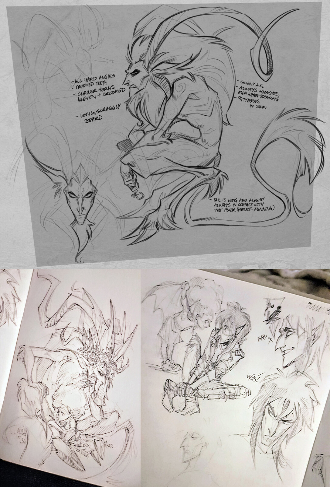 Plus a few sketches of the traditional variety, feat. MoonlitAlien's Aawari  Christmas Flavoured Demon Goat or Vampire: the Masquerade variety, where he goes, she goes
