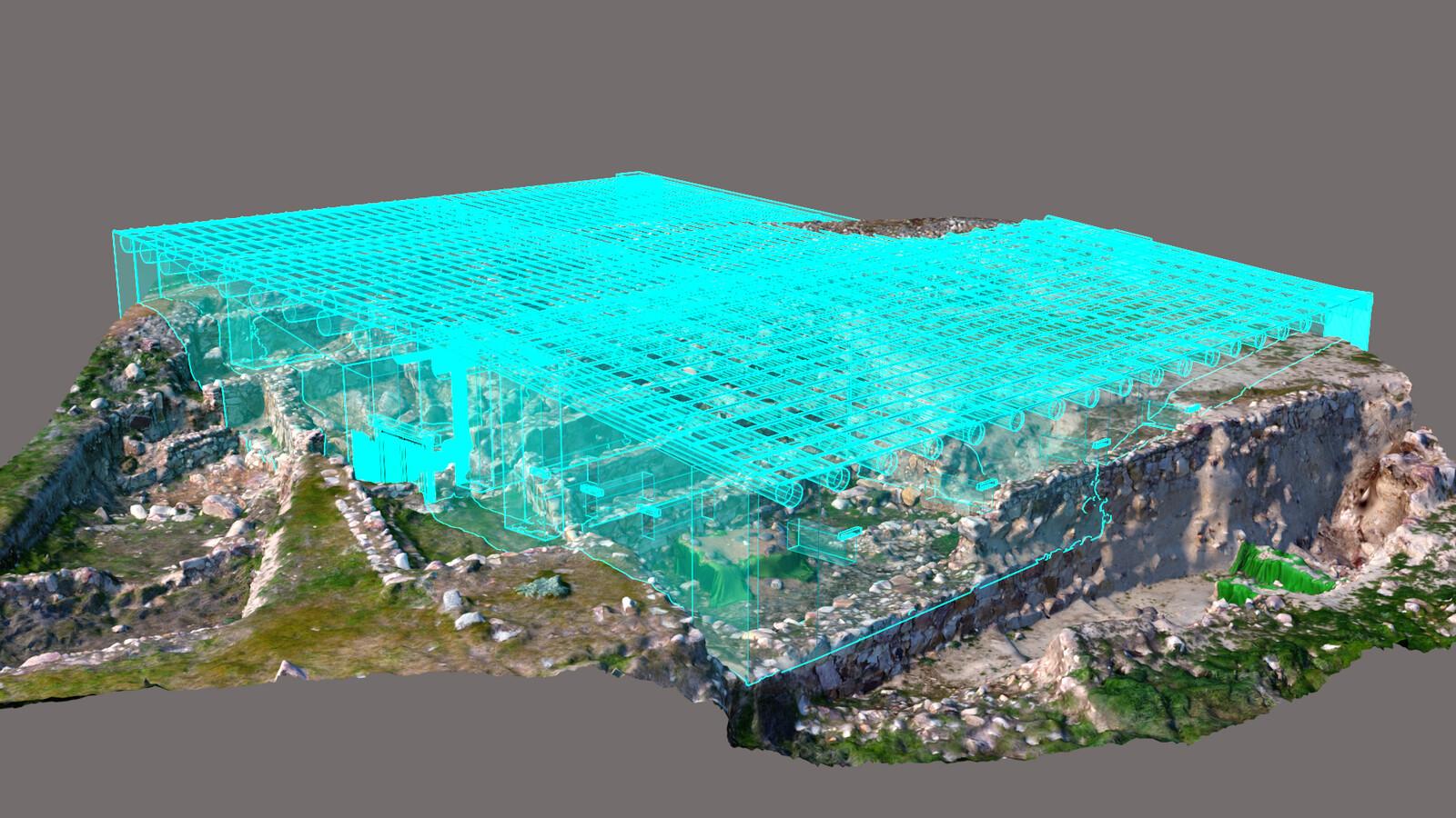 Modelo 3D del Sector III + reconstrucción volumétrica del granero