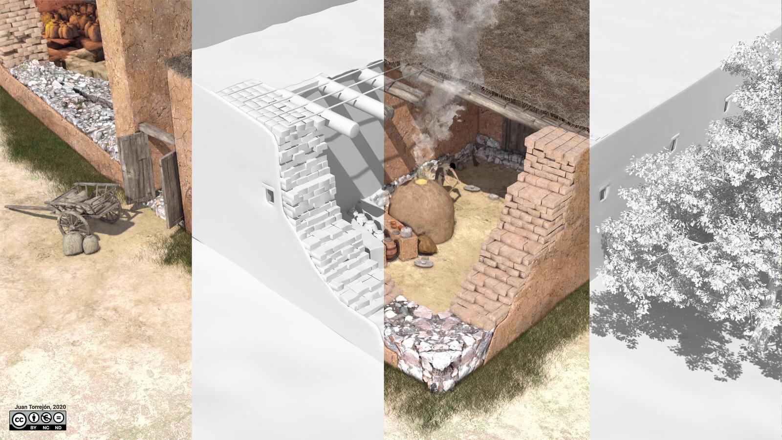 Vista en detalle de la zona sur del edificio, dedicada al procesamiento del grano   ilustración final + volúmenes 3D