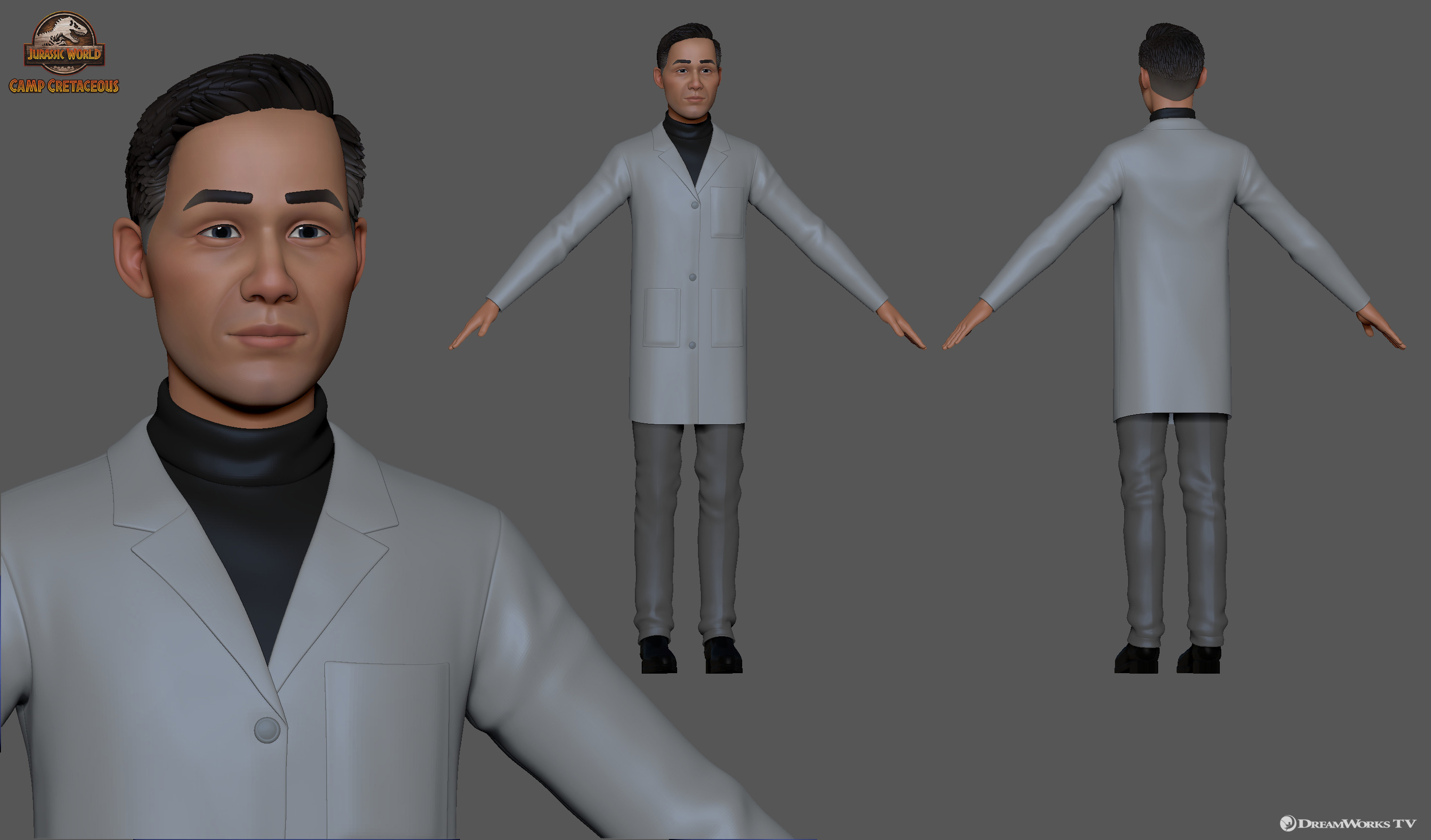 Dr. Henry Wu - Responsible for stylized likeness sculpt and modeling in collaboration with the DWTV modeling team and outsource supervision.
