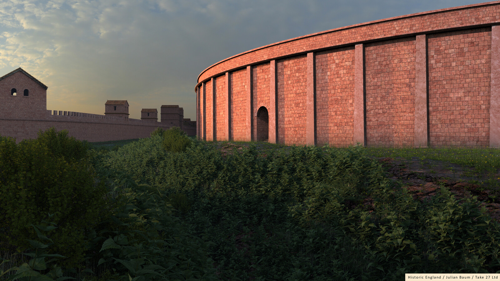 Chester's Roman ampitheatre, with the evening setting sun highlighting the western entrance.