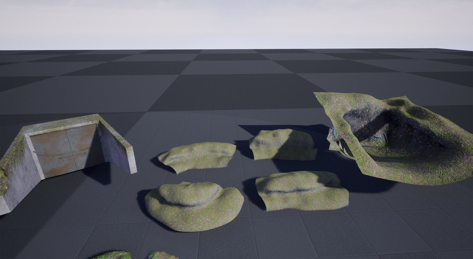 These are the main landscape builders I used to create more definition in the terrain. These used a vertex normal shader and a vertex color allowing me to paint in desired texture to further fit the landscape textures.