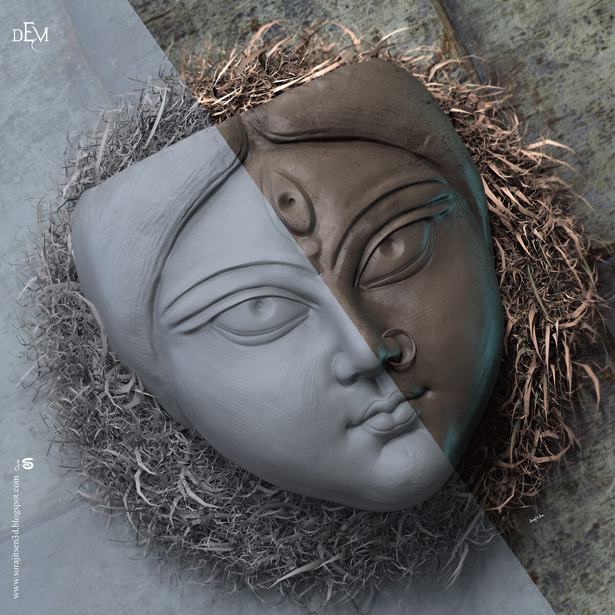 Digital Sculpture Today I tried to make a form of traditional clay Sculpture of Devi Durga. Inspired from #Kumortuli, #Kolkata. Background music- #hanszimmermusic