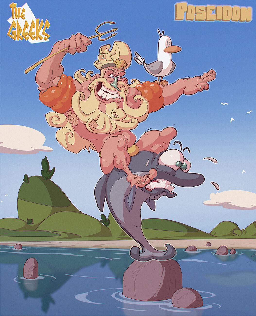 Poseidon Ridin' the Dolphin!