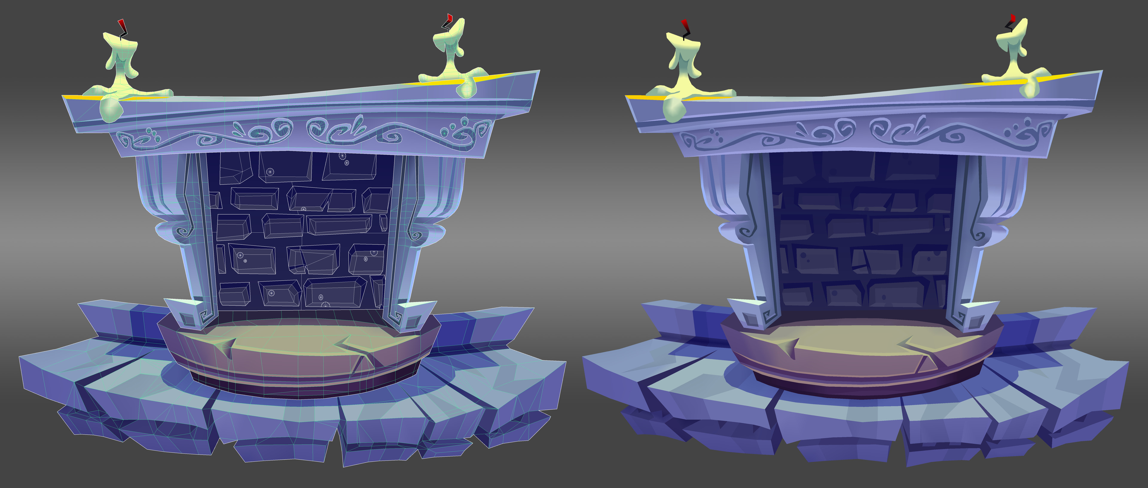 UI Fireplace: Vert colored 3D model