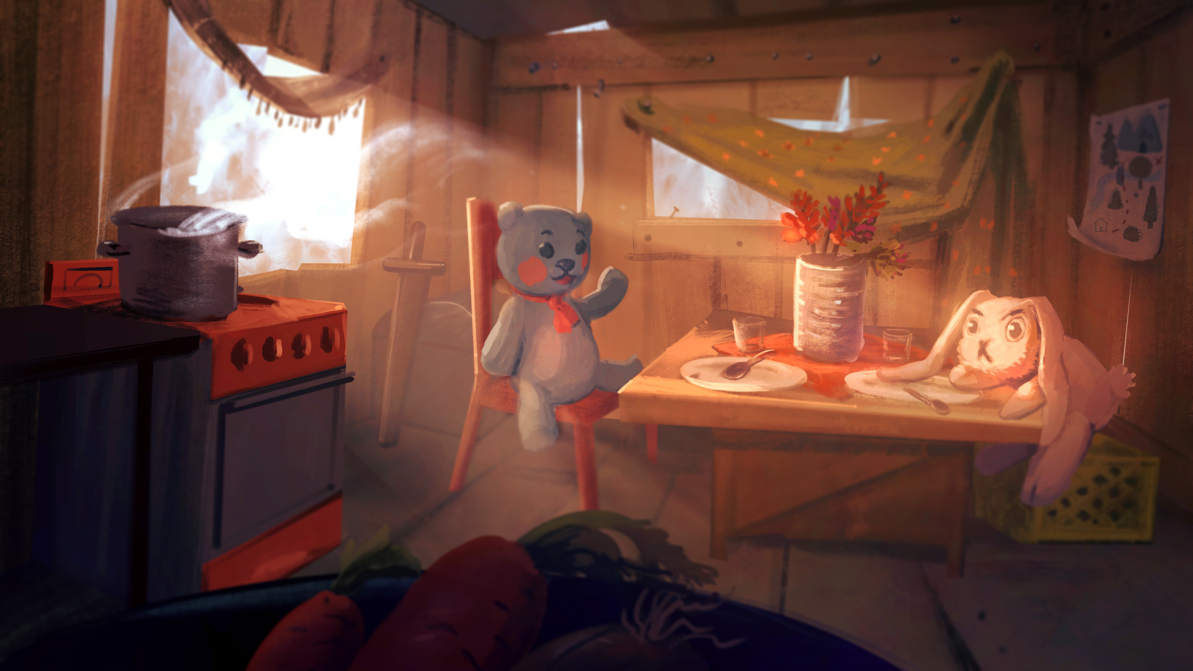 The cabin concept art.