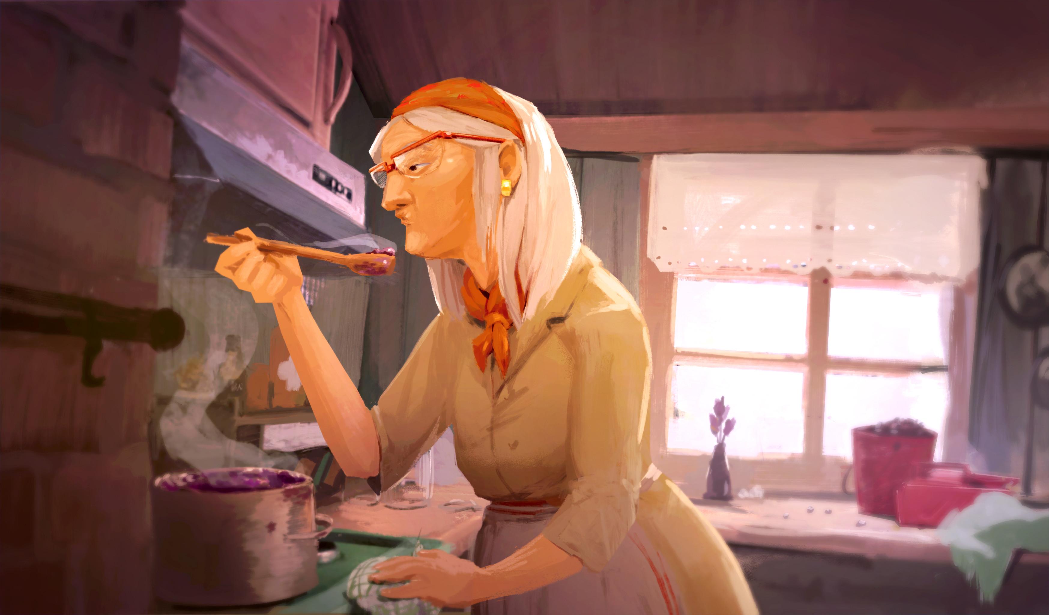 Memory concept art. Grandma teaches you how to cook jam.