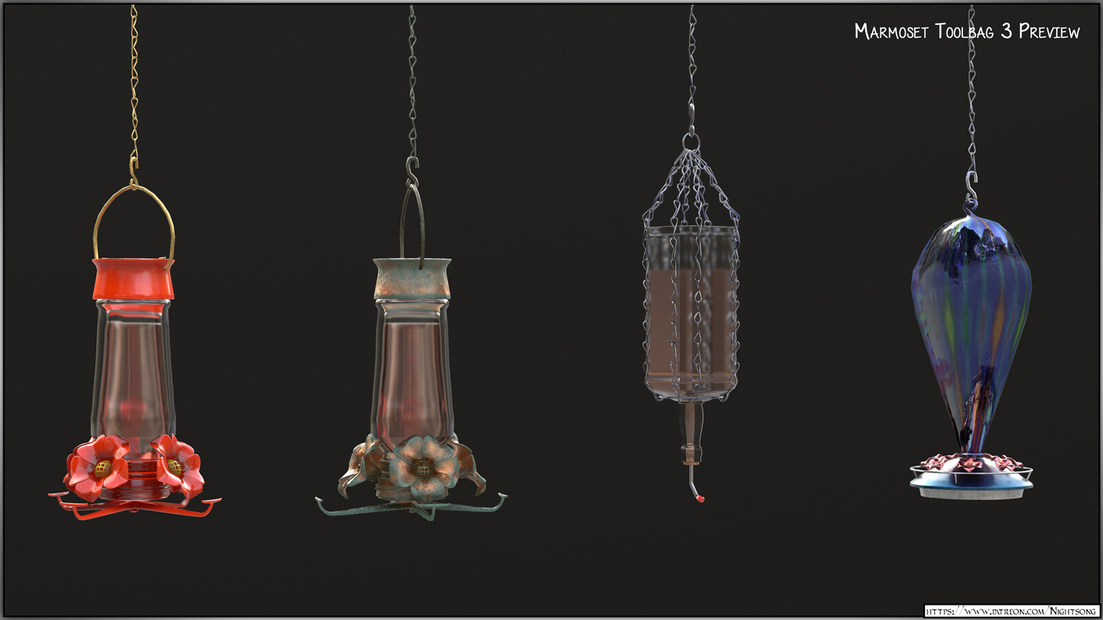A texture preview of the hummingbird feeders in Marmoset Toolbag 3.