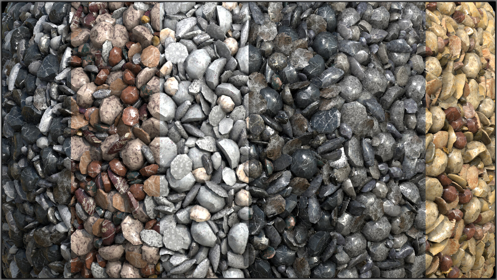A sampling of all of the gravel colors.