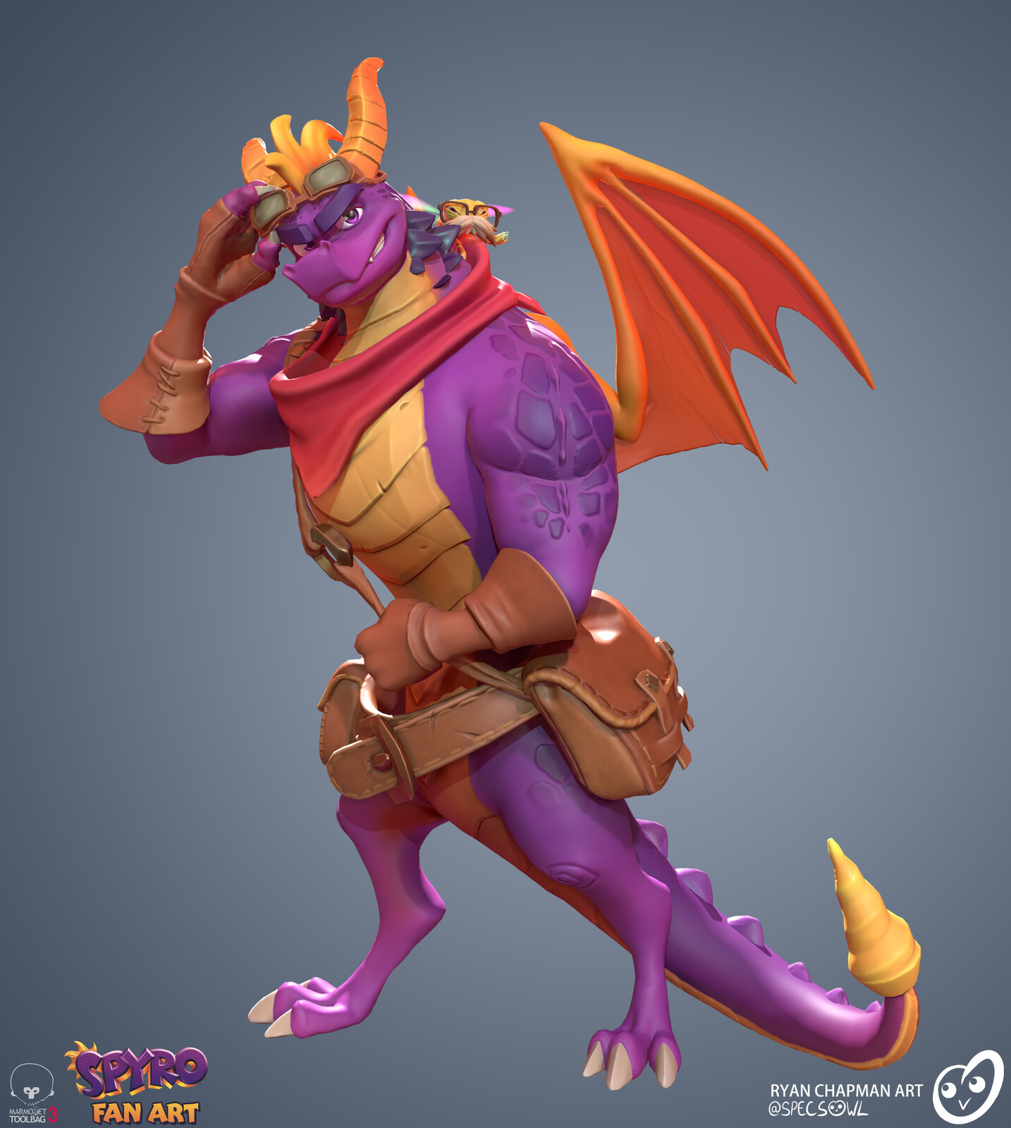 An original pose to show the moodier side of our purple dragon