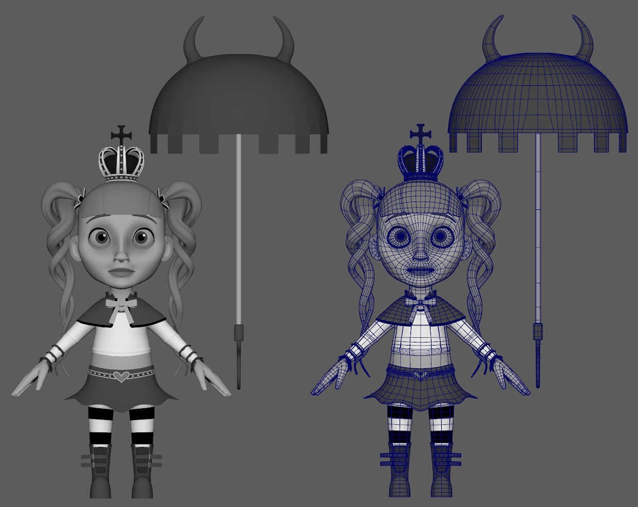 Front view with wireframe comparison