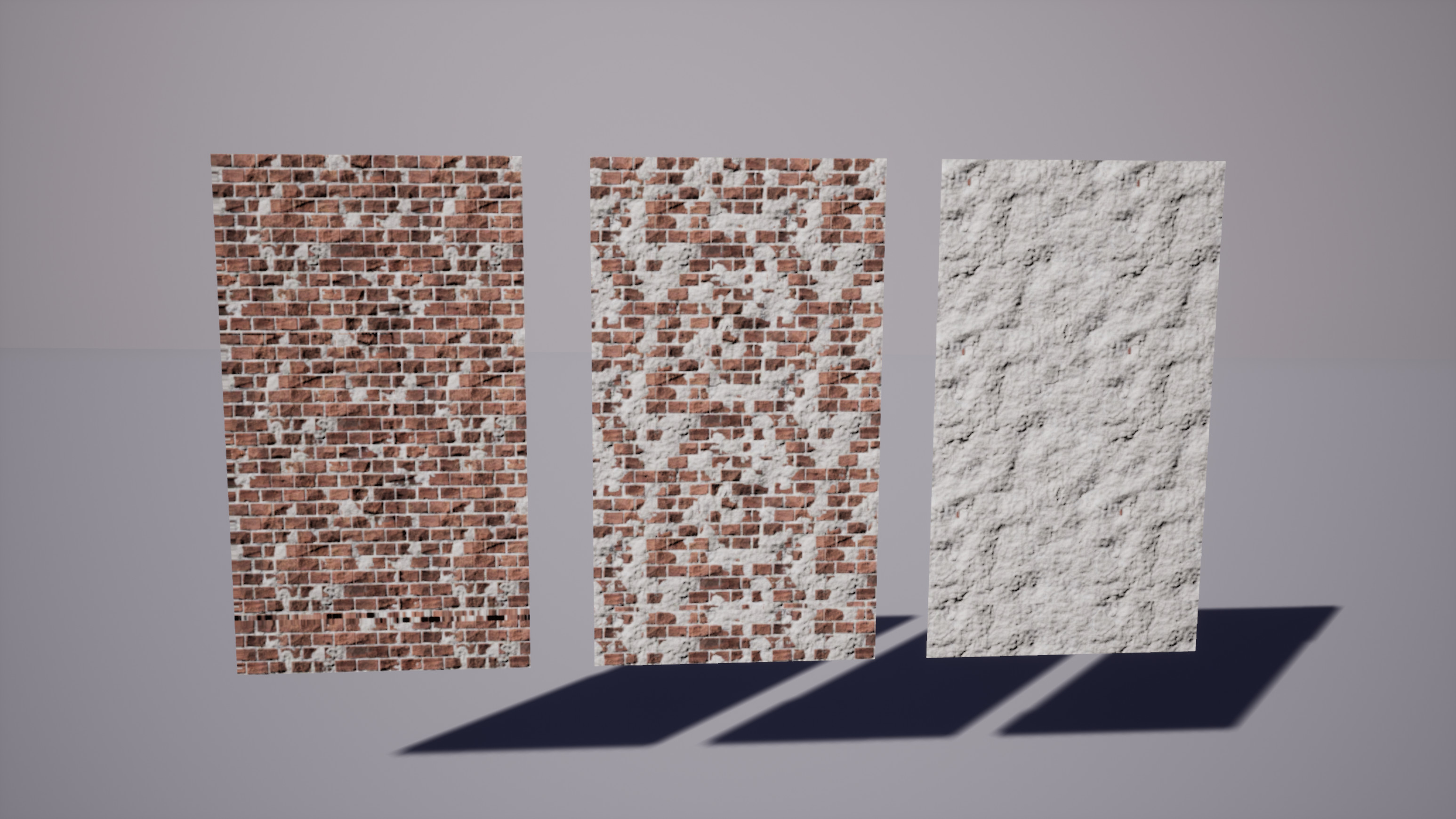 The three different materials I used to vertex paint the walls of one of the modular buildings. The material is made in Substance Painter where I tweaked different values to get the three materials.