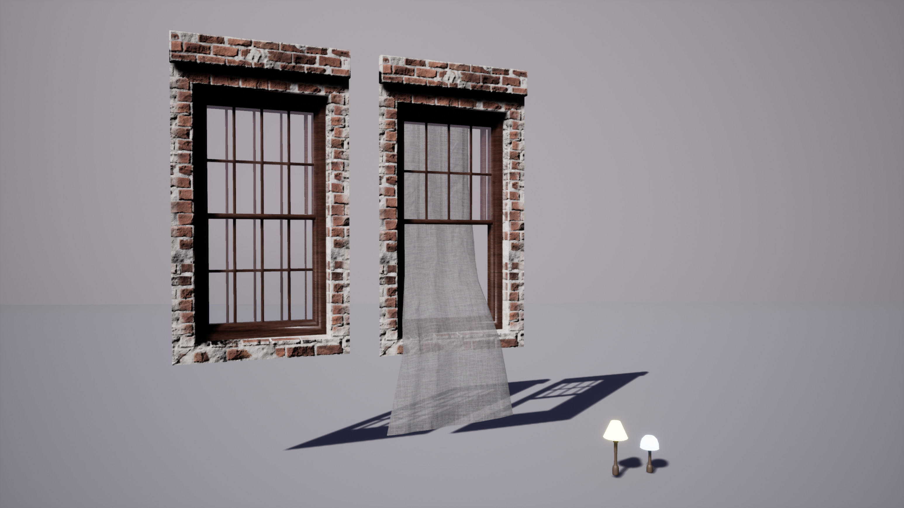 The modular windows of the brick building, and two basic lamps made for the windows.