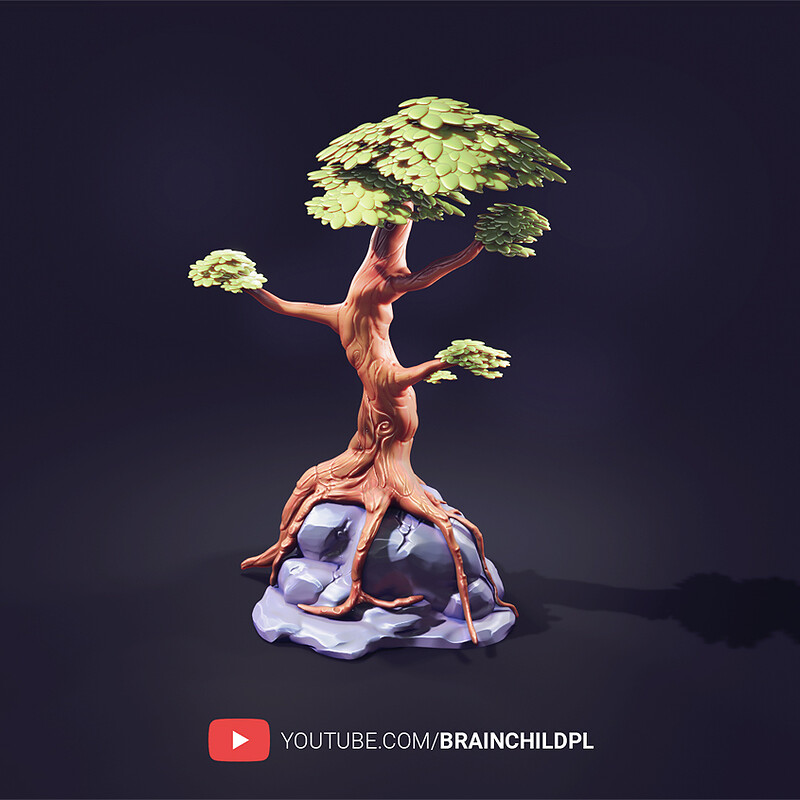 [ 6 HD VIDEOS - Full process ] How to create: PBR STYLISED game-ready TREE MODEL in Blender 2.90