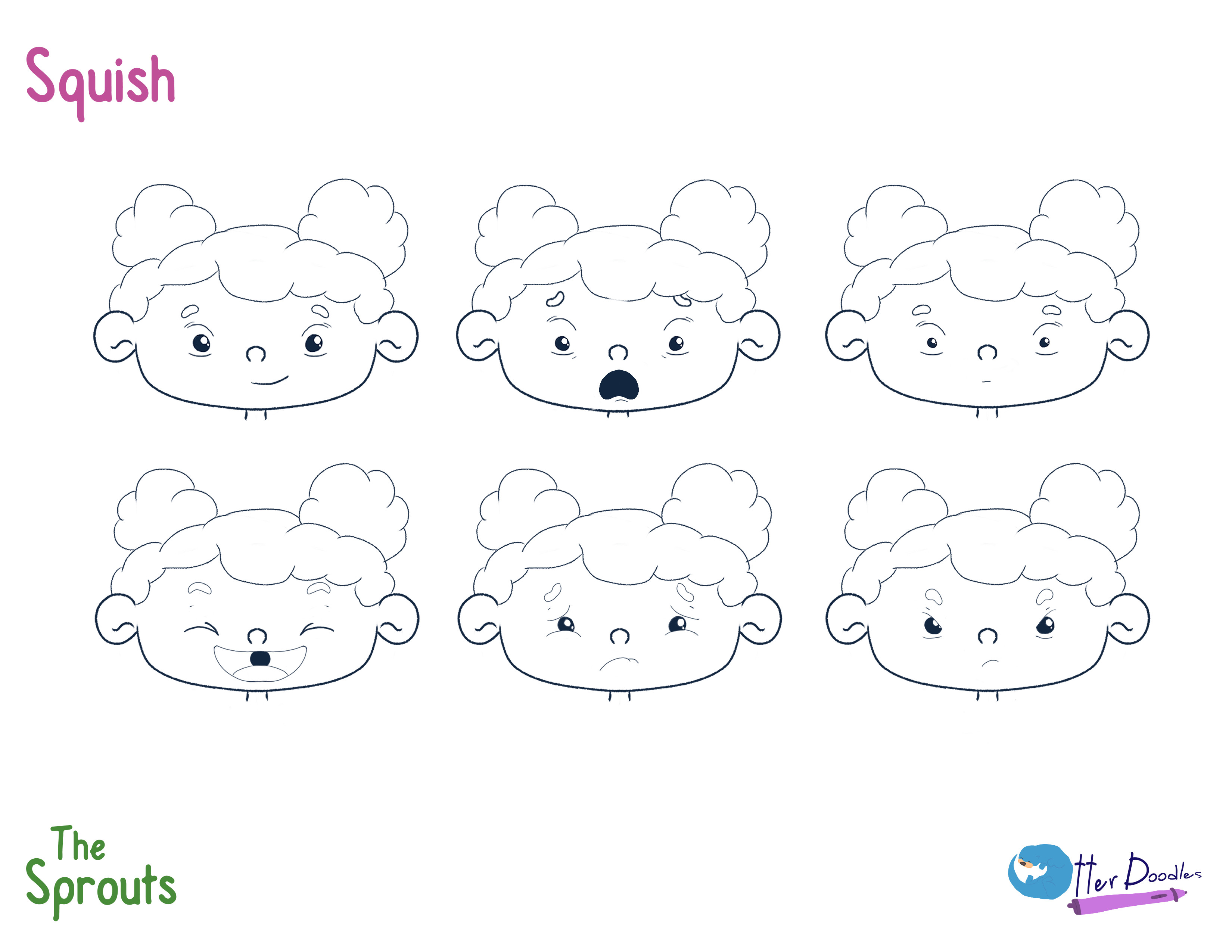 The Sprouts: Squish Expressions Model Sheet