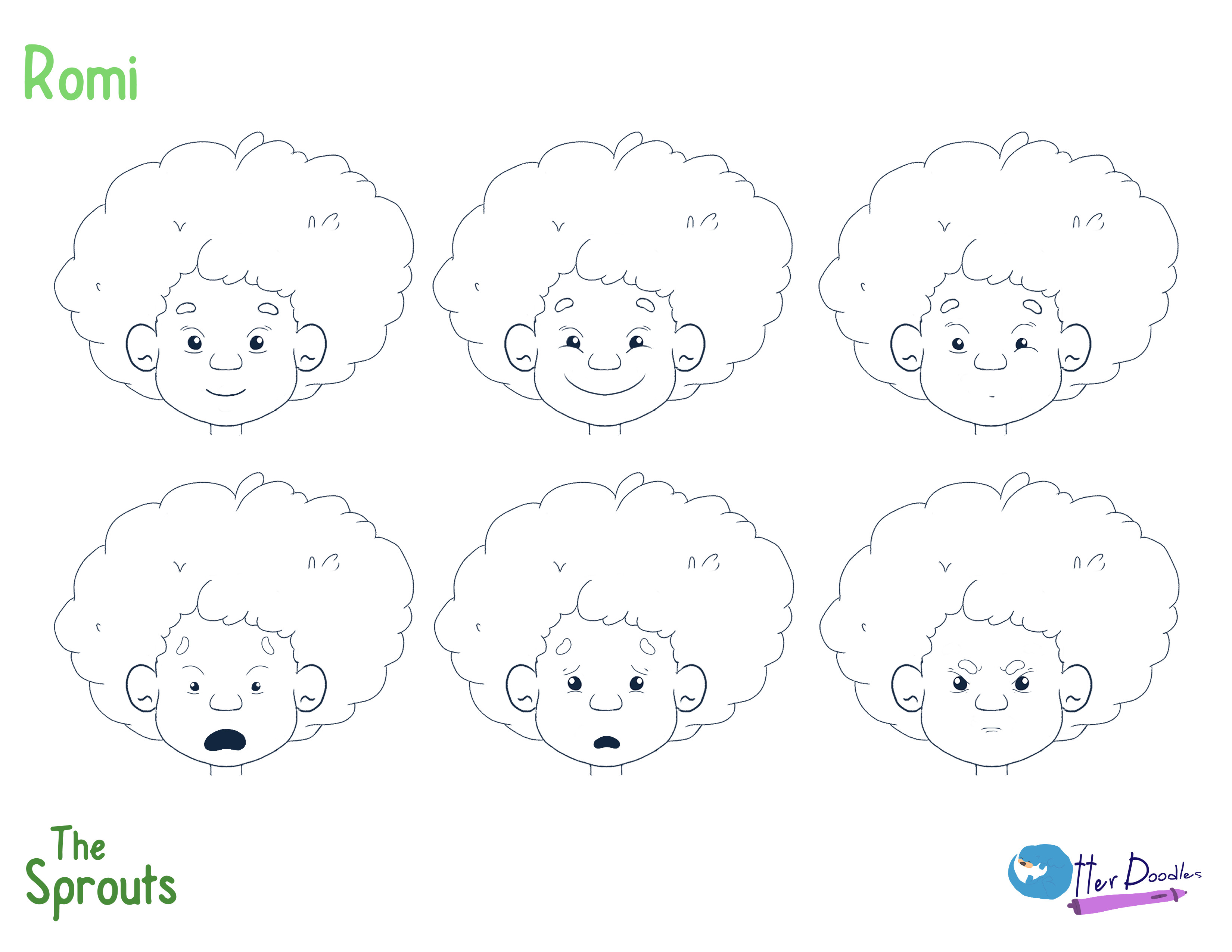 The Sprouts: Romi Expressions Model Sheet
