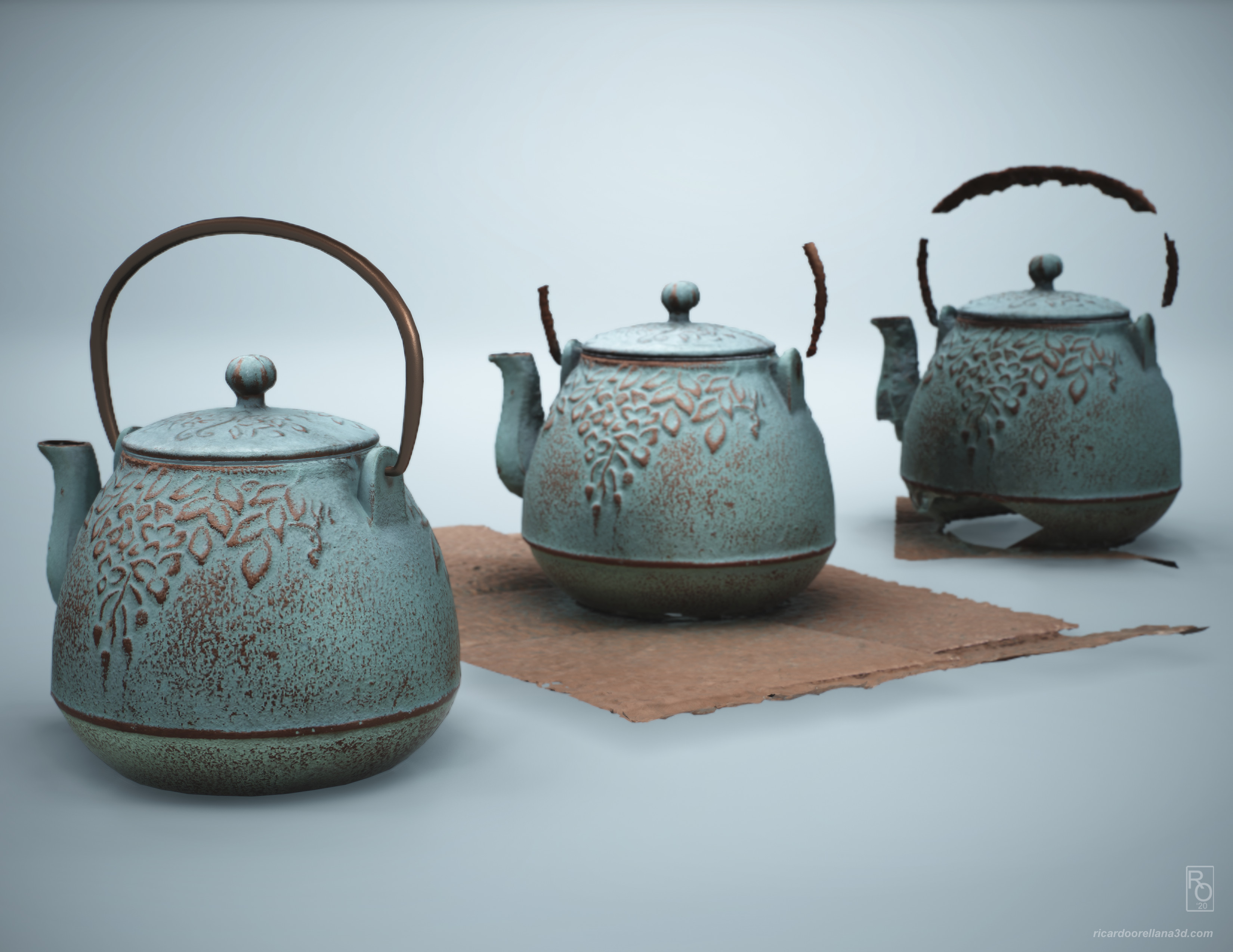 The teapot scan in the middle was the one used as a base for geometry reconstruction