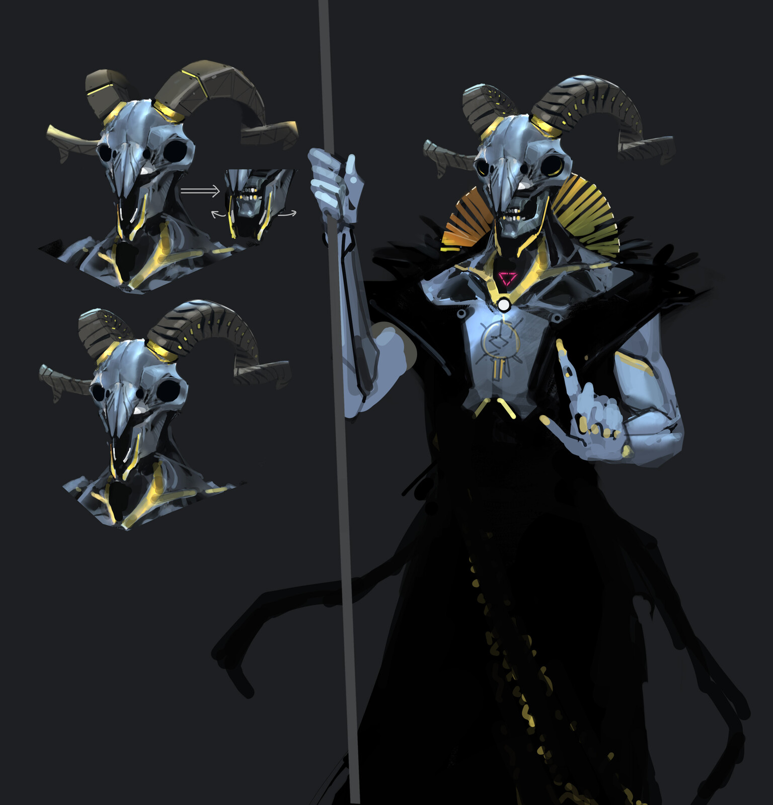 The ram skull archetype was chosen in the end