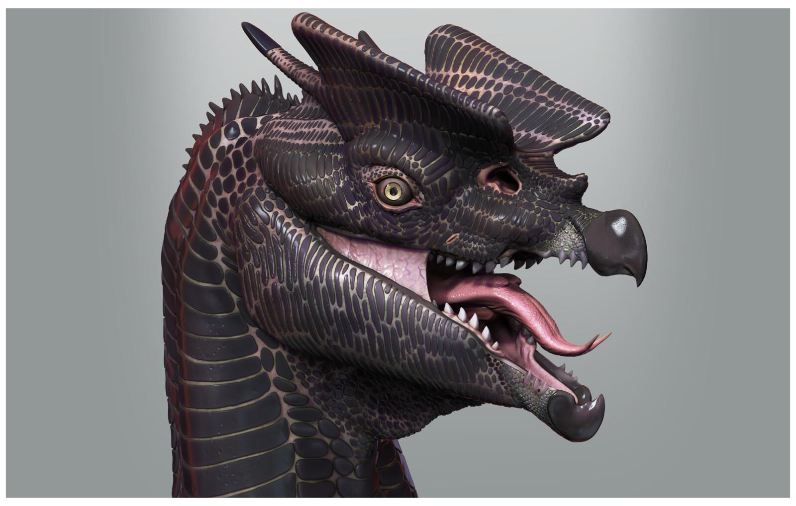Crested Cliffdrake 3D sculpture