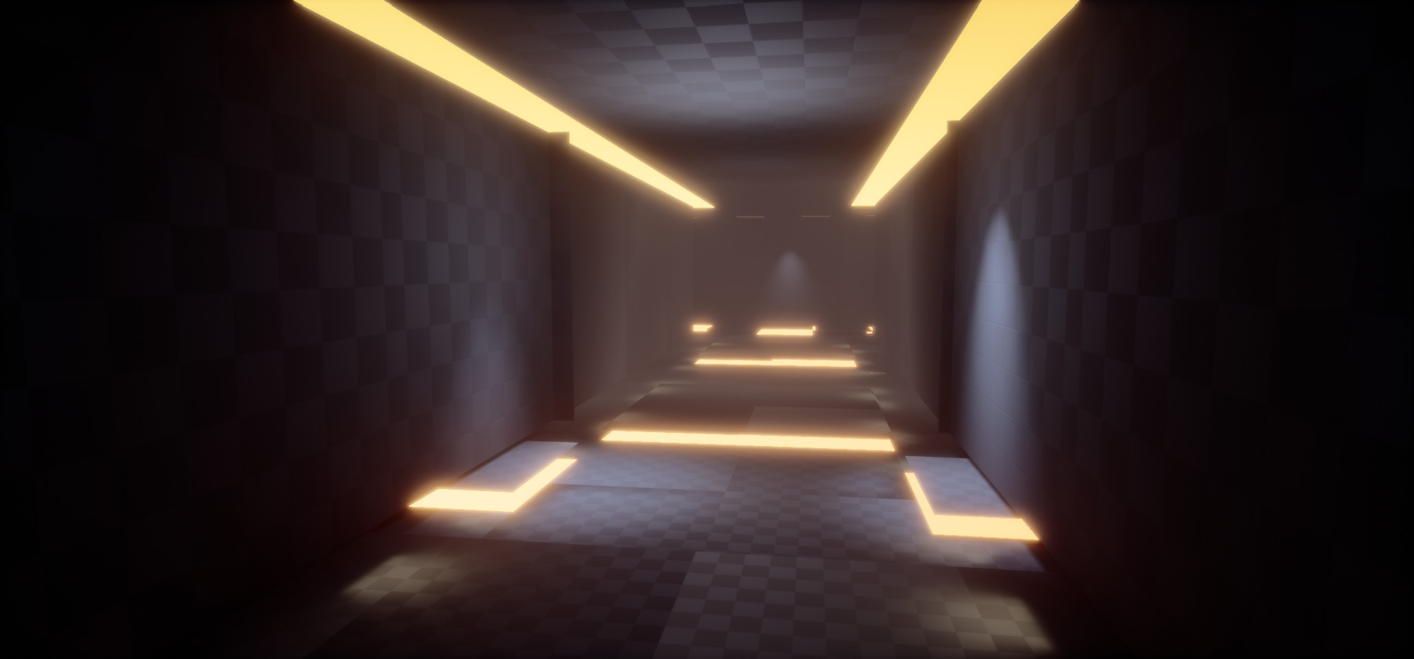 Basic Lighting and base mesh planes. These become tessellated within the Unreal Material shader