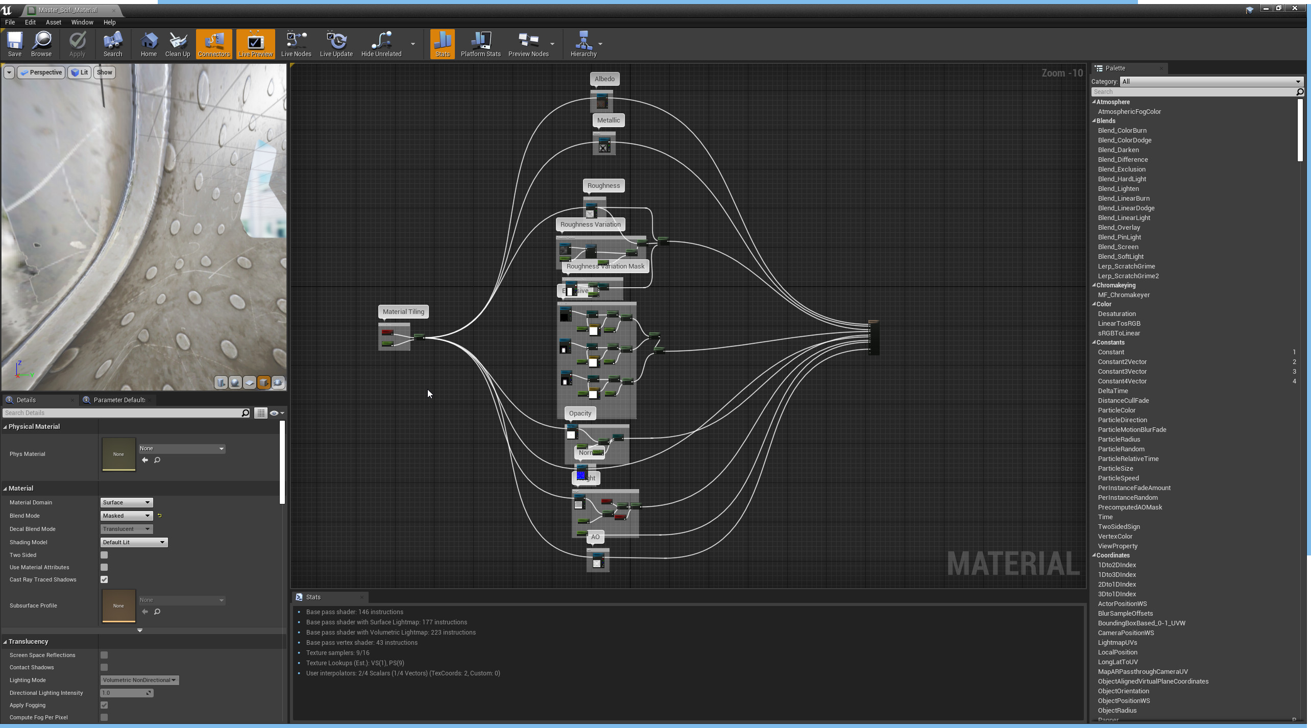 The master material in Unreal. this was was then duplicated with a material instance so that parameters can be changed per instance rather than multiple masters.