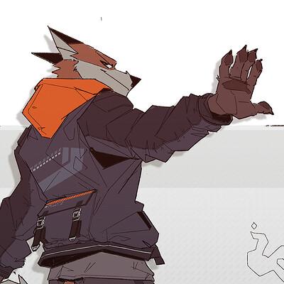 Paul jouard lineart fox color