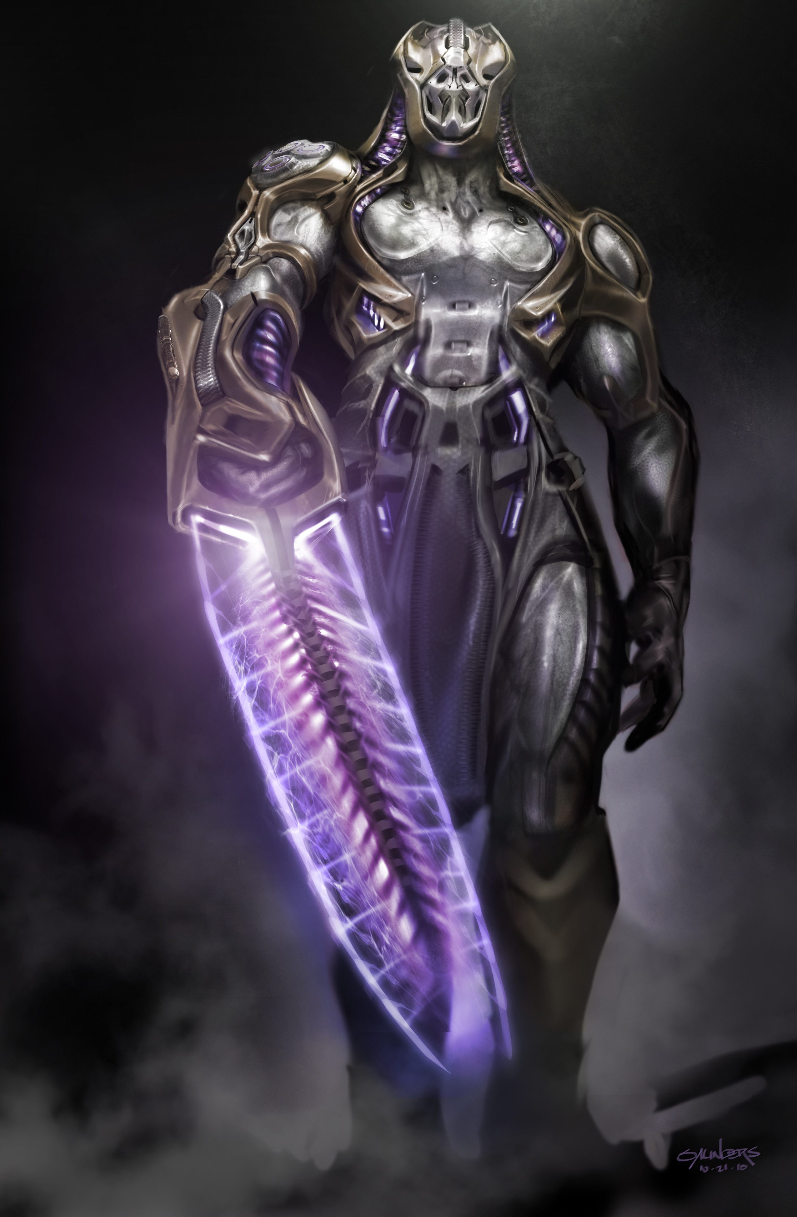 A Chitauri captain concept. Trying for an energy-chainsaw style weapon.