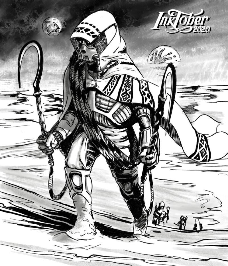 """Dune""  A Fremen prepares ""maker hooks"" deep in the Great Erg, awaiting Shaihulud..."