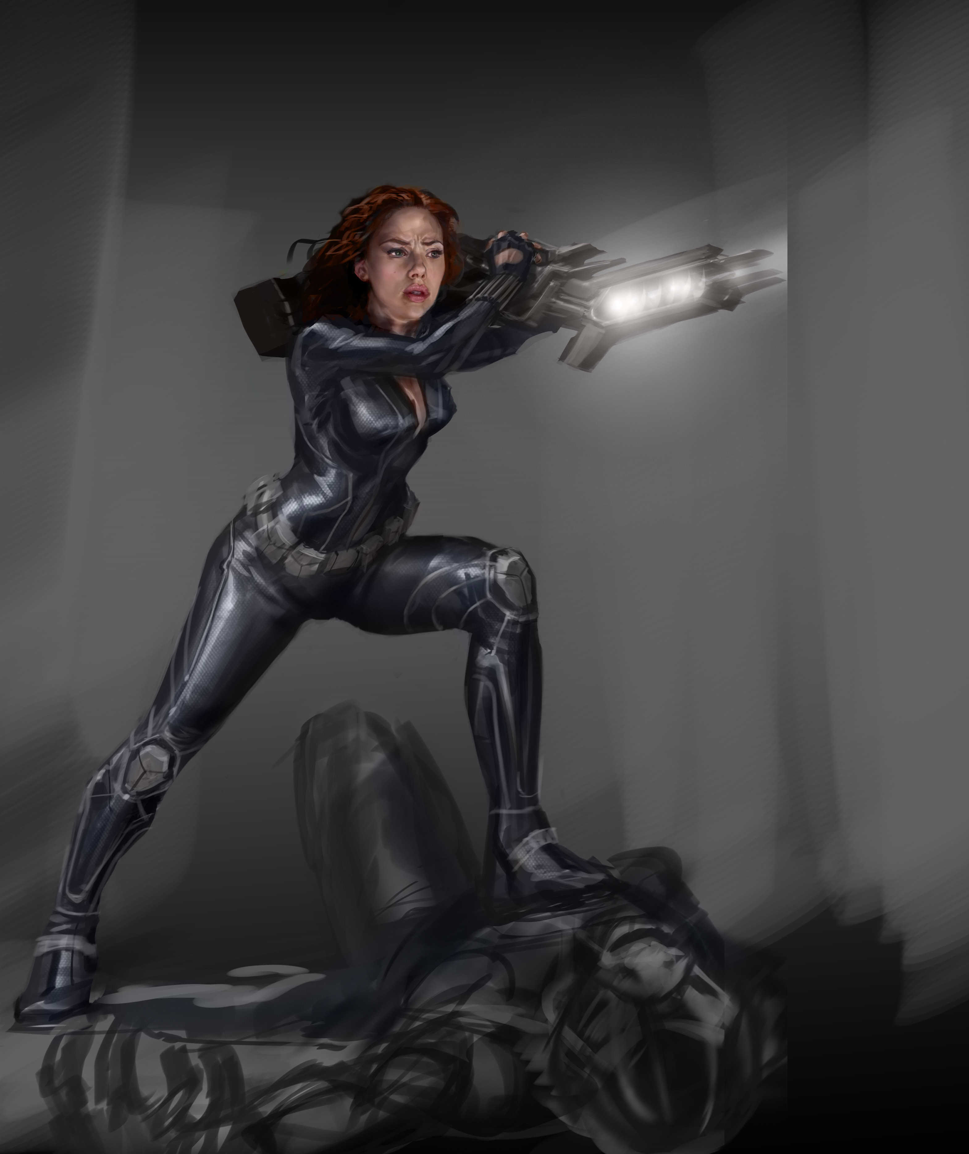 A sketch of how Black Widow might try to use the Chitauri captain's weapon.