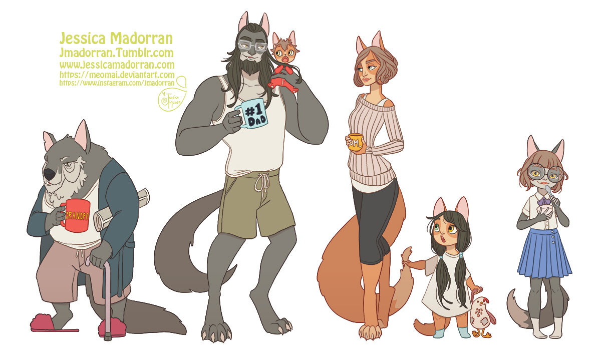 Patreon - Character Line Up - Werewolf Family