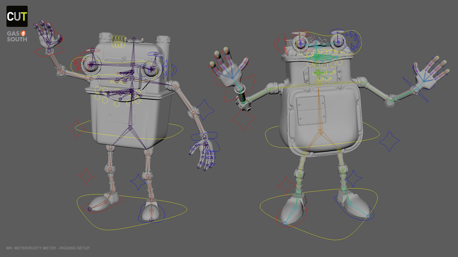 Rigging setup build for both characters