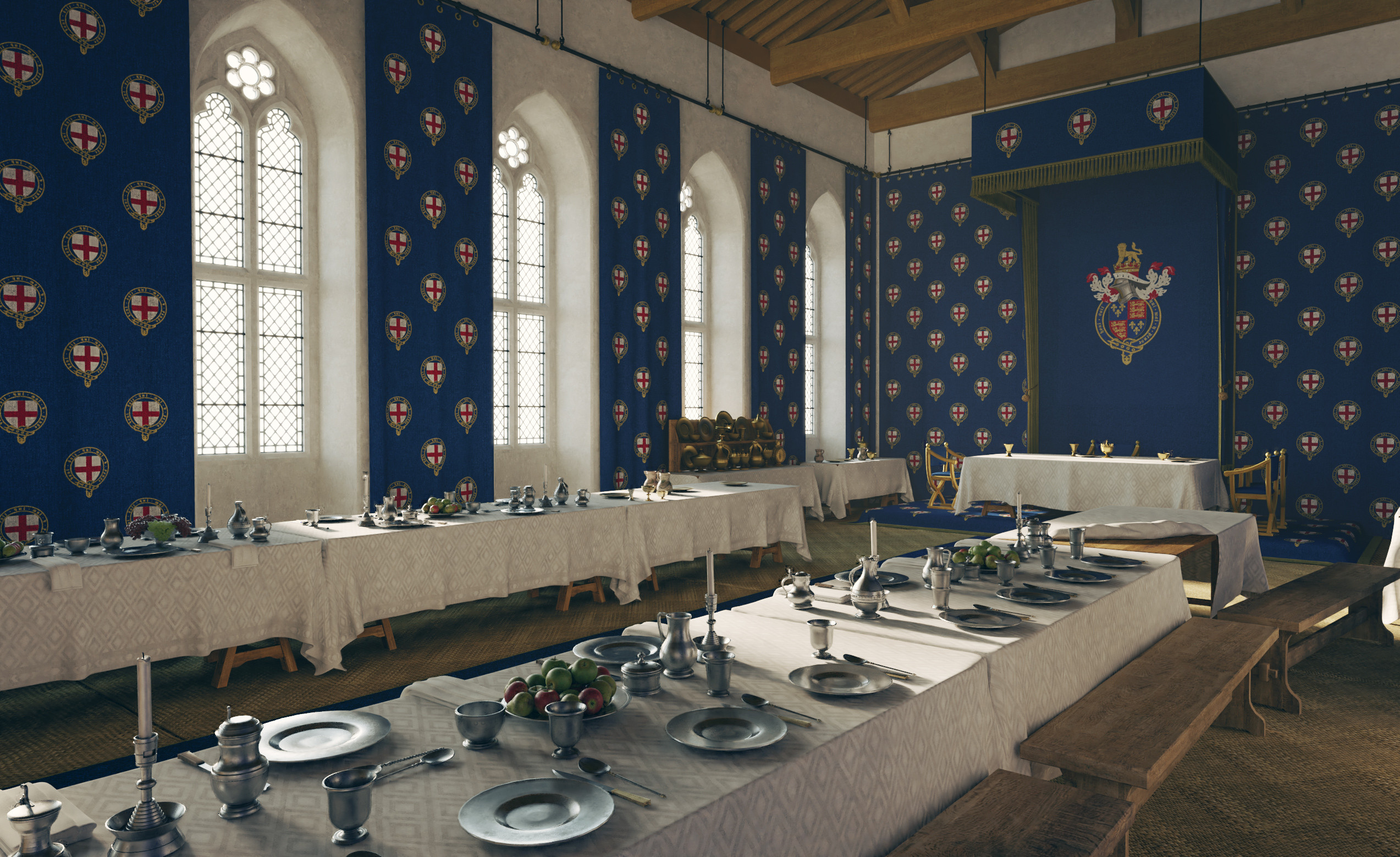 Digital reconstruction of the Great Chamber at Windsor Castle in 1476.