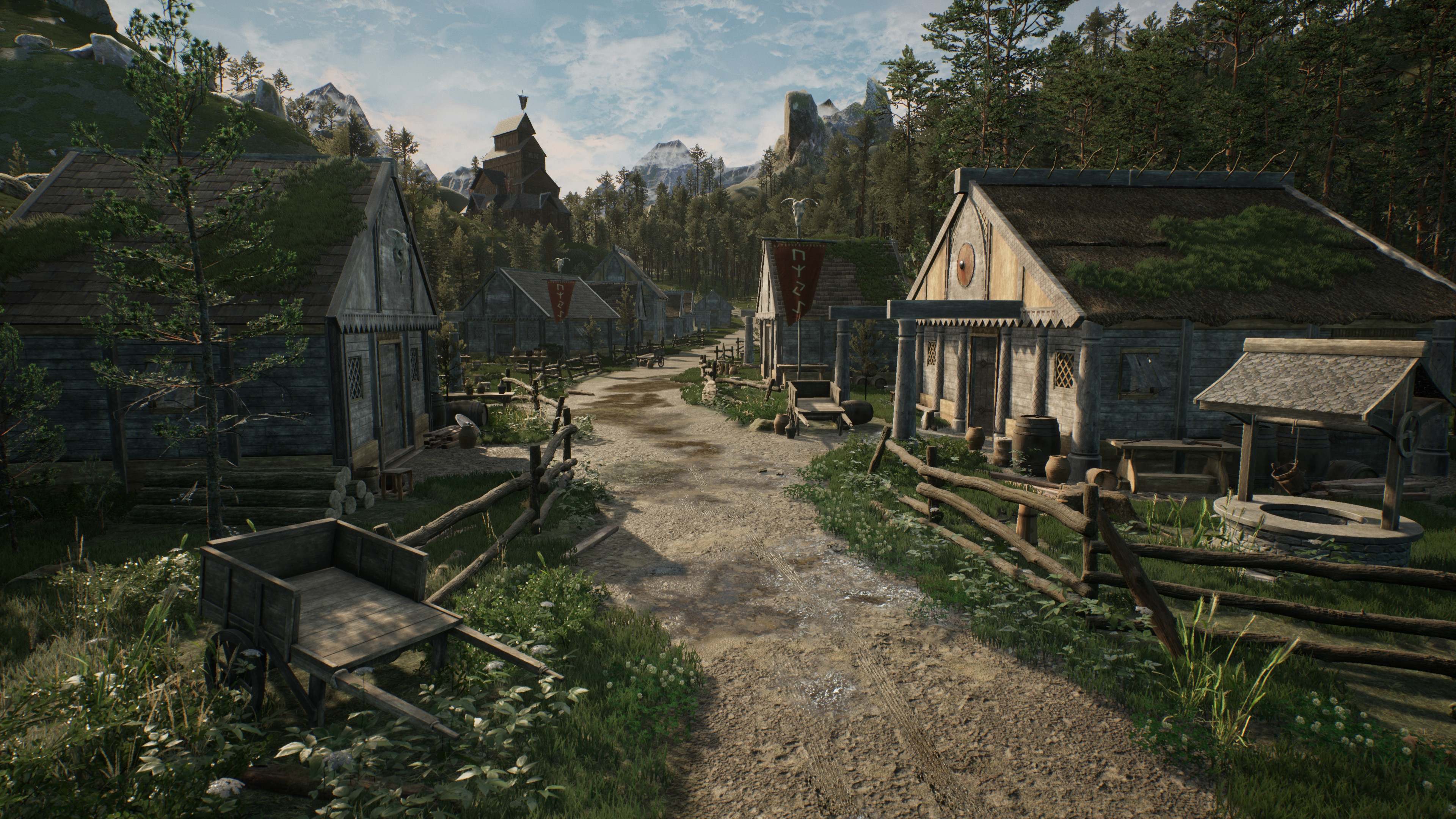 Scandinavian Village: This was the focal shot I spent the most time working on. I believe the terrain materials and foliage really helped bring the aesthetic of the world alive along with my basic materials consisting of woods, stones, bone, and linen.