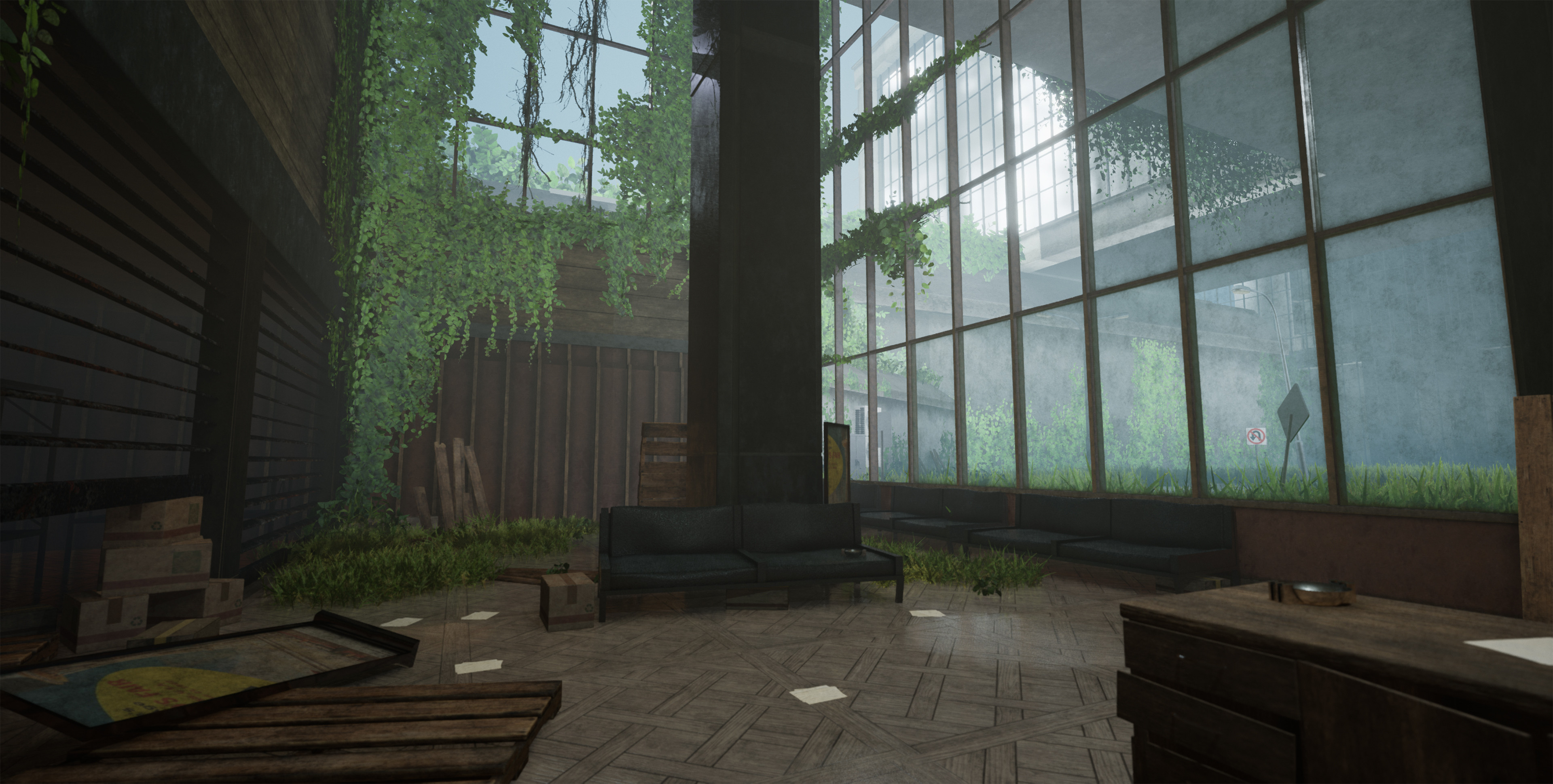 Dystopia: 12 Hour Project UE4  With this quick project I was feeling a lot of inspiration from the Last of Us Part II and wanted to fill a similar aesthetic. A lot of time was spent piecing in the vegetation and building quick modular architecture