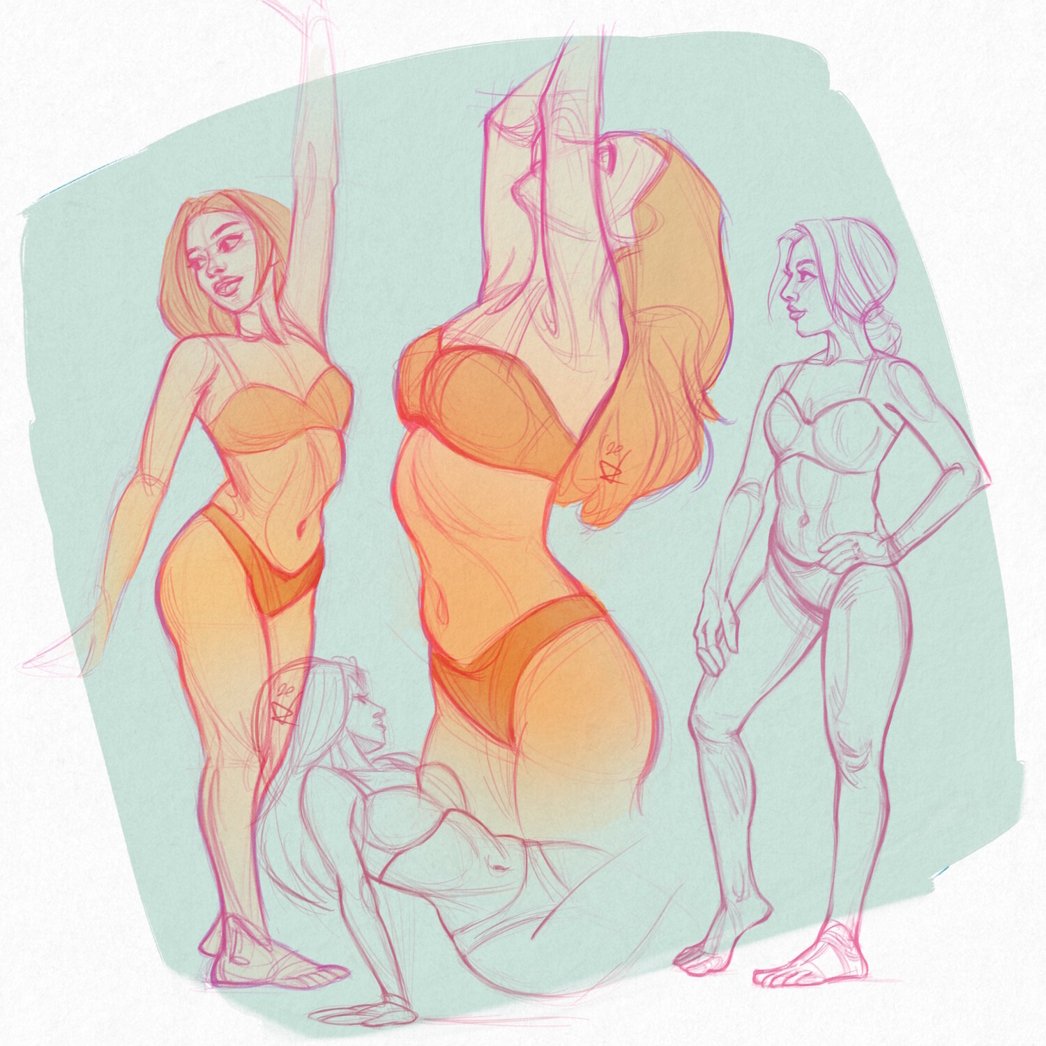 Study Sketches by Rachel Bradley (coloured version)
