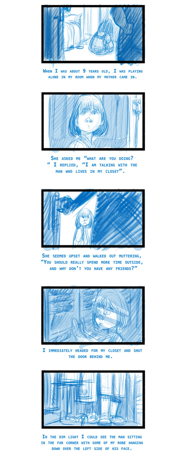 The First Time I told a Lie Rough storyboard