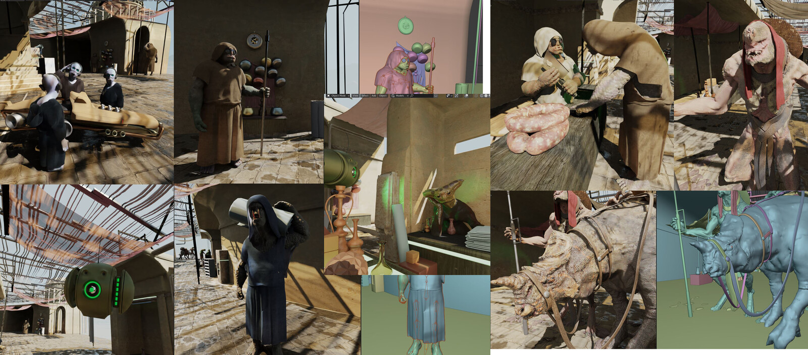 Secondary characters were quickly made to be scattered around the scene, with different poses and elements. Most of their shaders are also procedurally made.