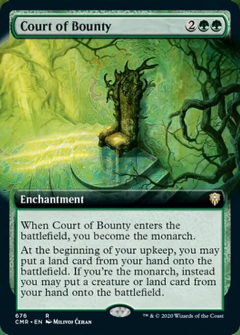 """Court of Bounty"" , released land card with regular frame - © Wizards of the Coast - AD Andrew Vallas/ Sandra Everingham - Magic the Gathering, ""Commander Legends"", Oct 2020"