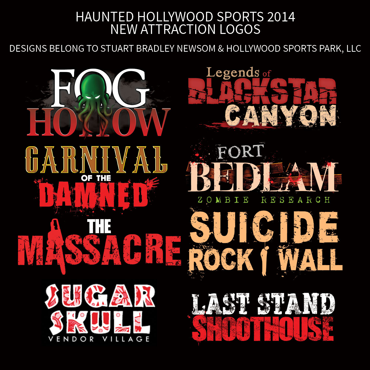 2014 Haunted Hollywood Sports Attraction Logos