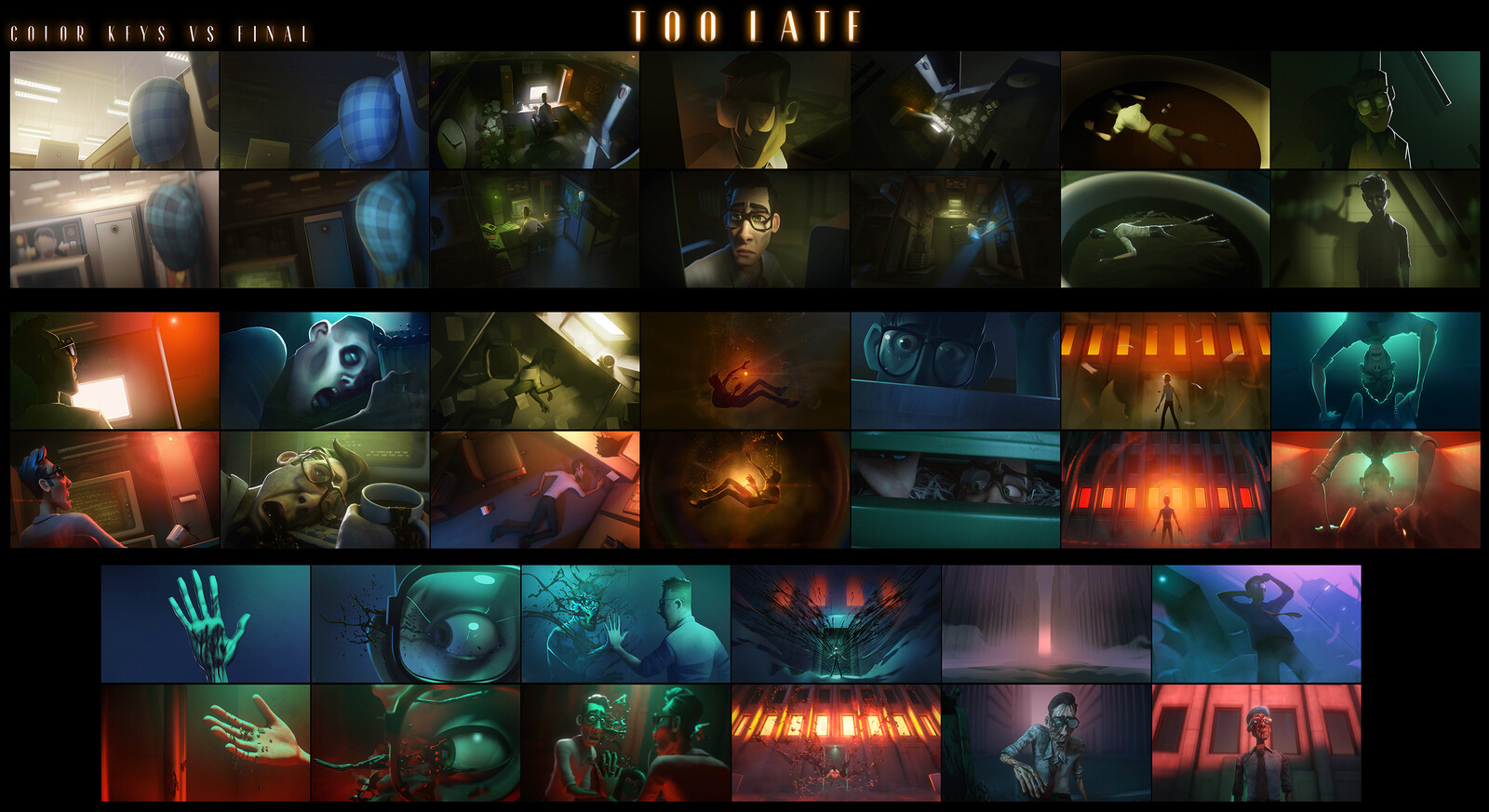 Comparison between some of the color keys next to their corresponding shots in the film.