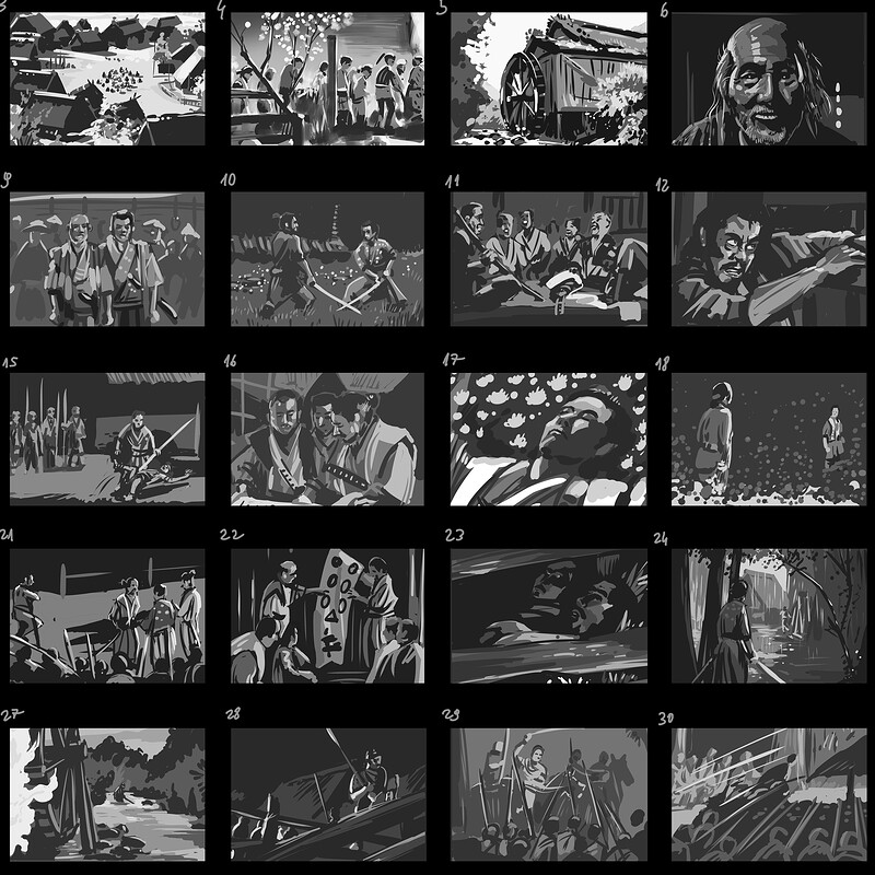 Seven Samurais scene studies
