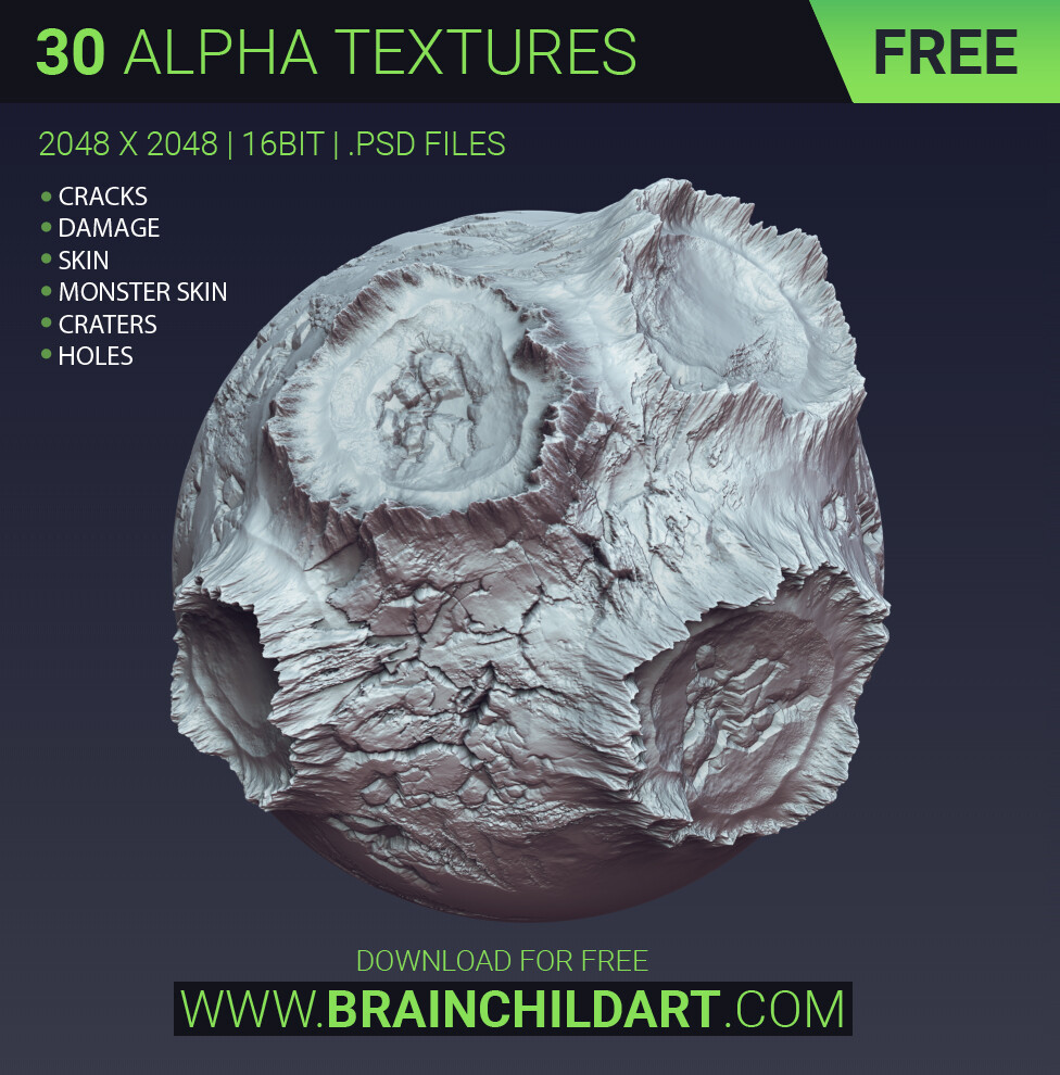 DOWNLOAD FOR FREE http://brainchildart.com/ FREE - 30 alpha textures | Cracks, Damage, Monster Skin, Craters... ZBRUSH, BLENDER & SUBSTANCE