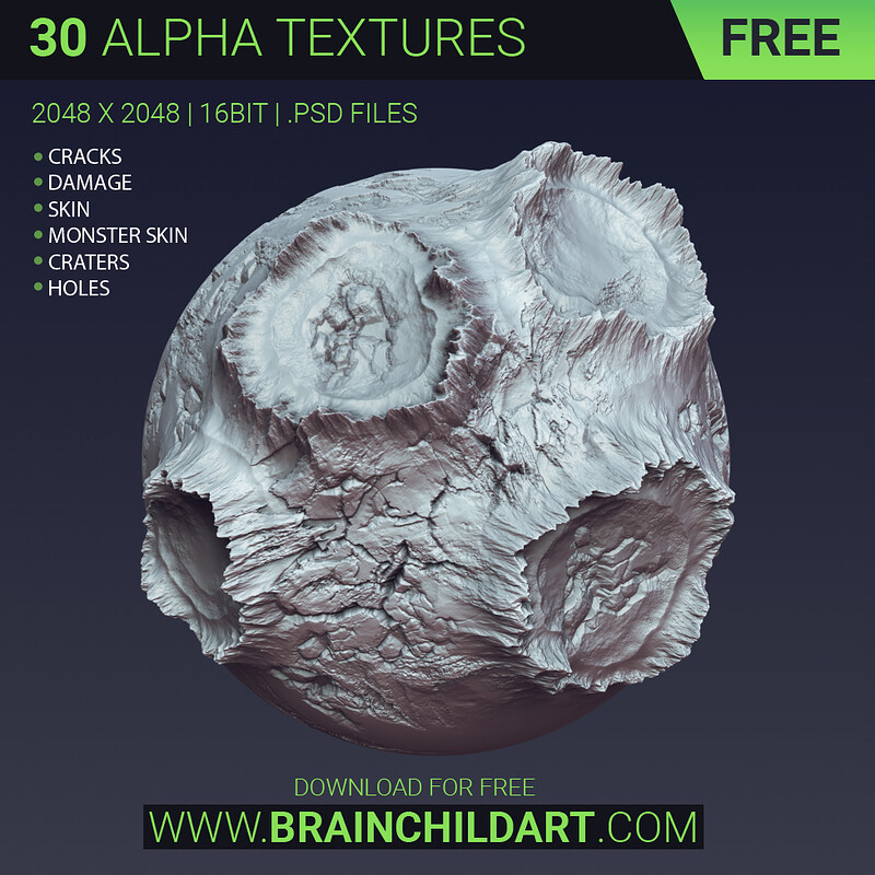 FREE - 30 alpha textures | Cracks, Damage, Monster Skin, Craters... ZBRUSH, BLENDER & SUBSTANCE