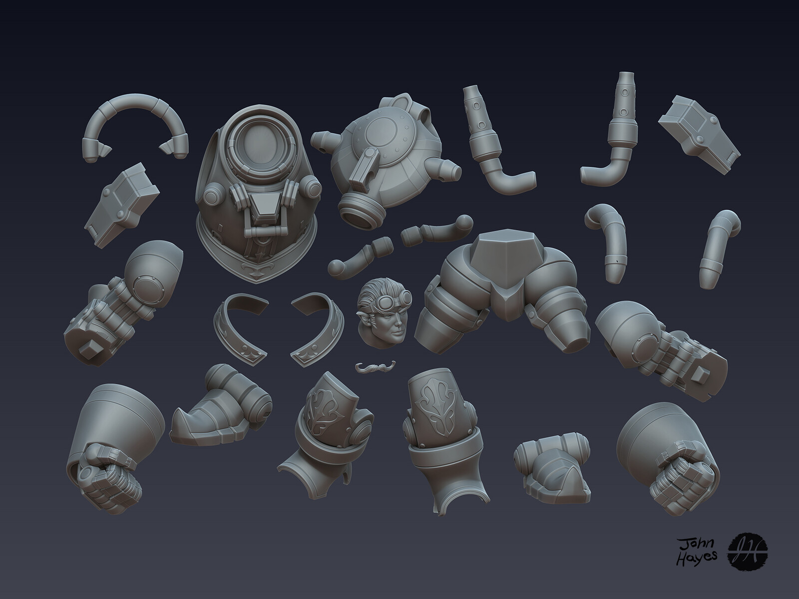 "Zbrush part for 3D print ""test"".  These parts are before full surface detailing was applied."