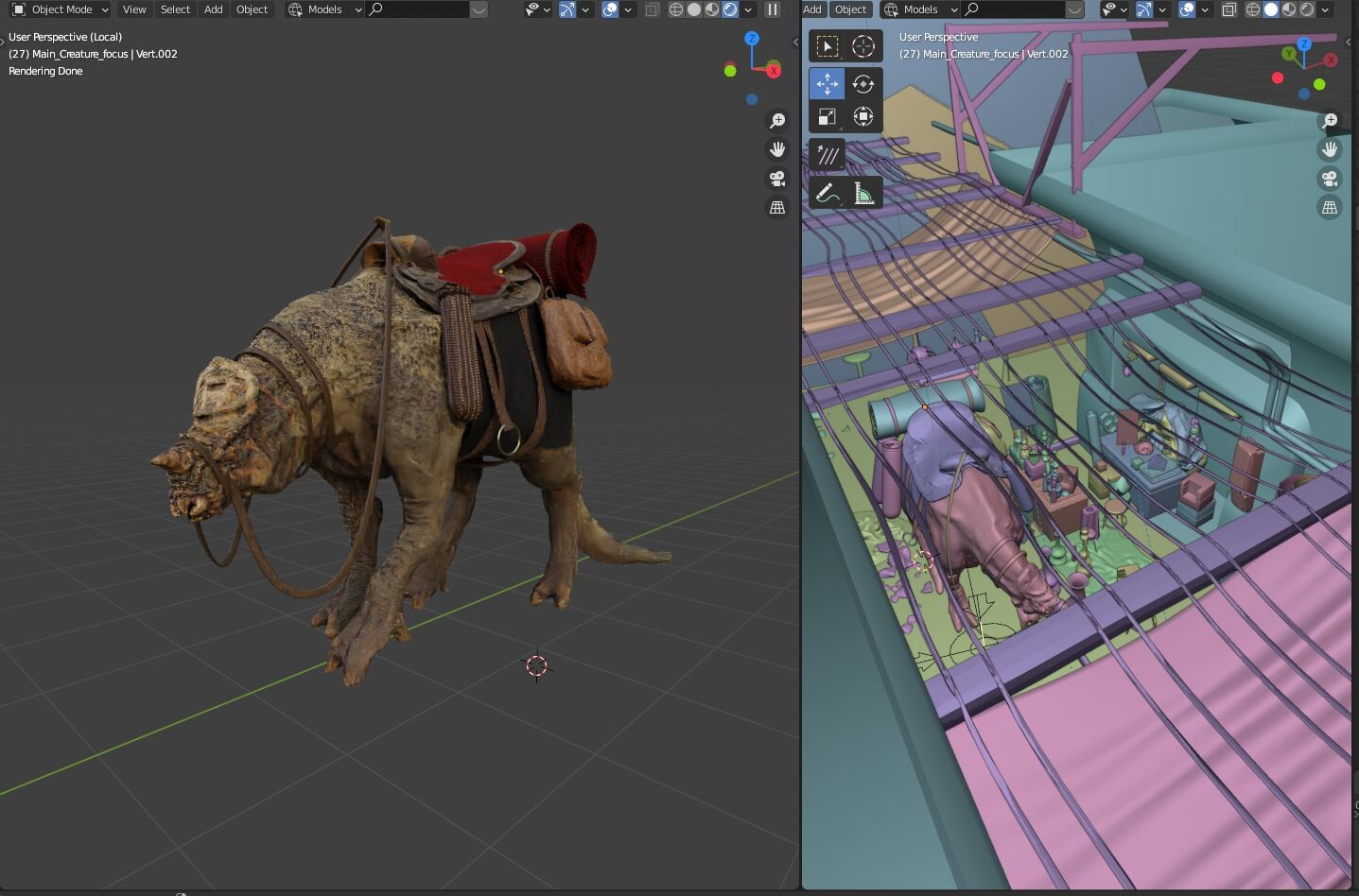 The camel / chameleon / triceratops thingy in it's early stages, it could use more details, but I decided not to make it entirely, and to use composition 2d methods to make it blend in with the scene, saving a huge time