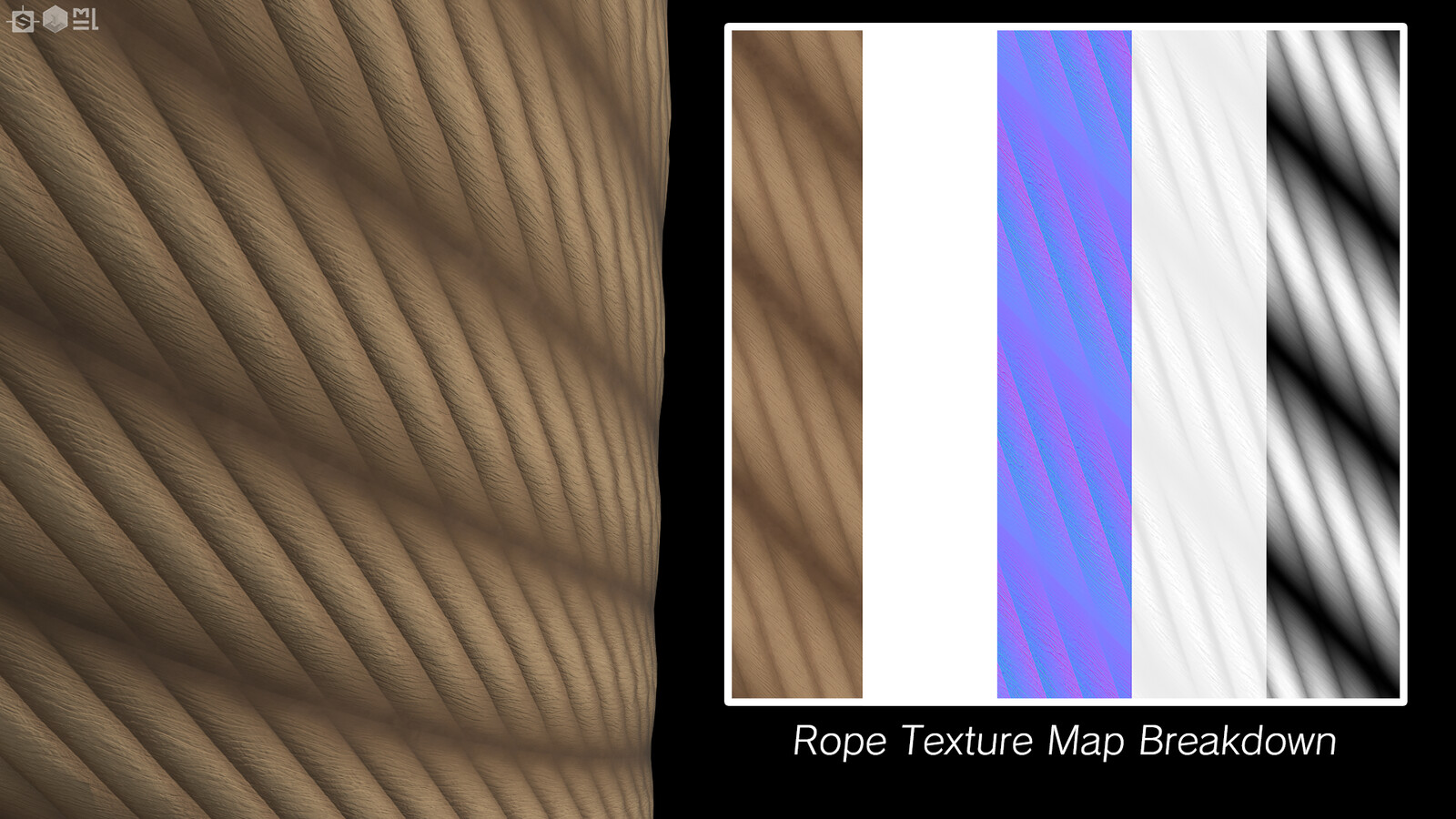 The rope tiles excellently, especially in Substance Painter across UV islands. The way it's set up in Designer also allows you to non-destructively change the angle of the rope so you can have straight strands if you so desire.