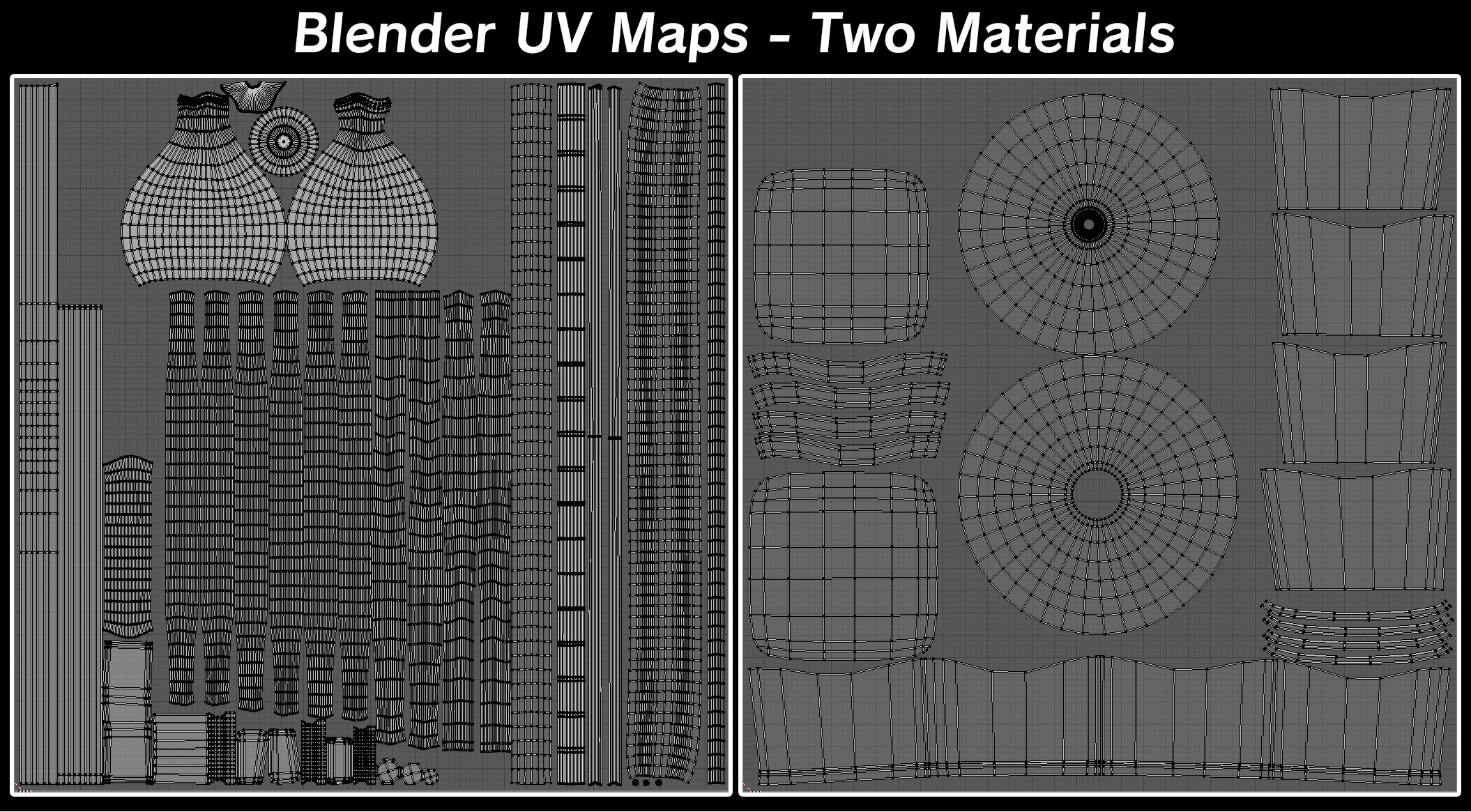 I made the decision to split the asset into two materials mainly to maximize space and to separate unique UV islands from overlapping ones. The first material on the left is 100% overlapping islands, and the right material is individual islands.