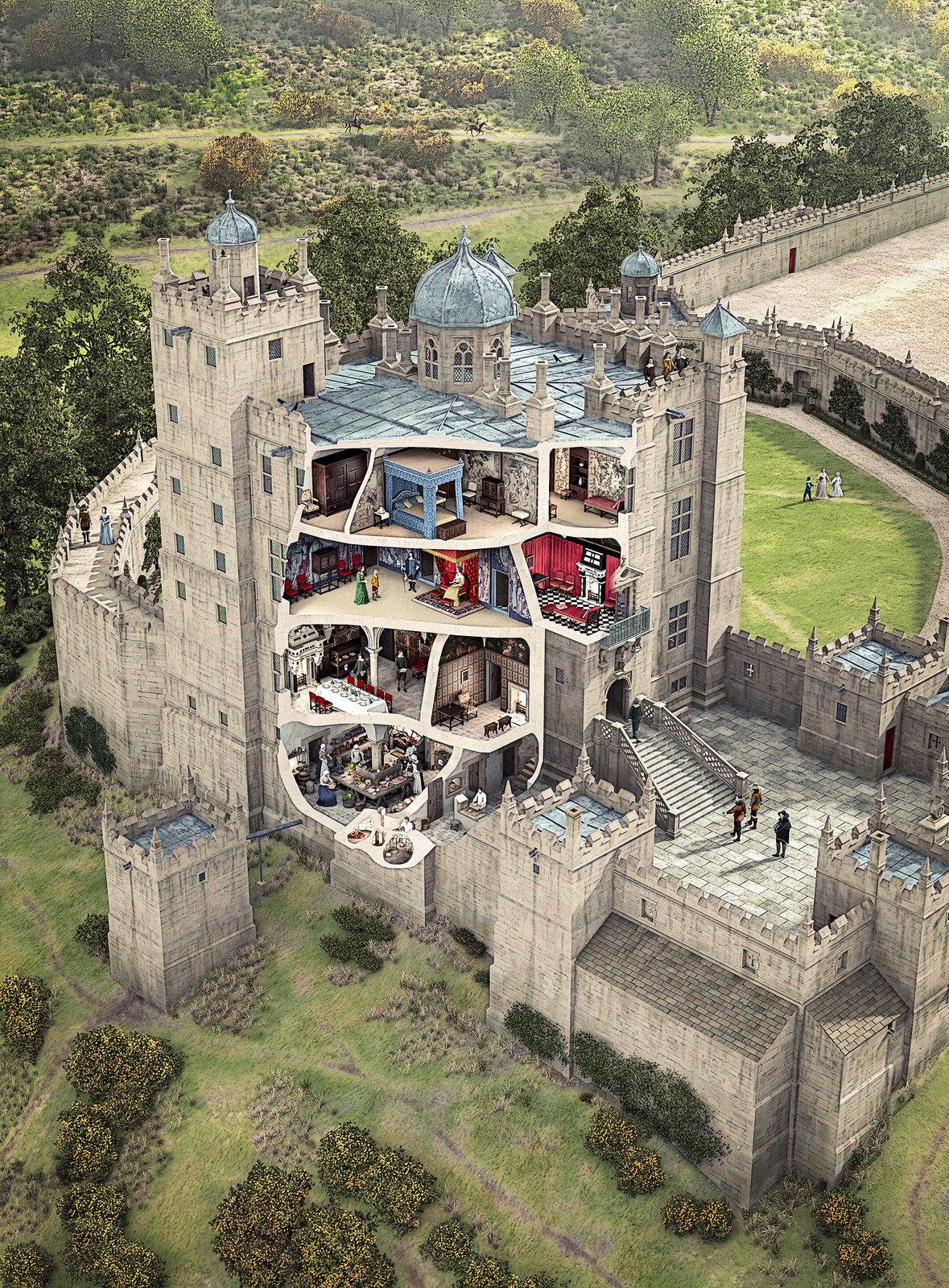 Cutaway, Bolsover Castle (Little Castle, 1630)