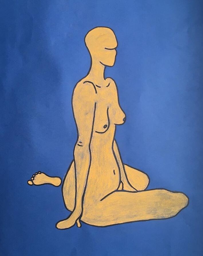 Chalk drawing of a nude, live model.